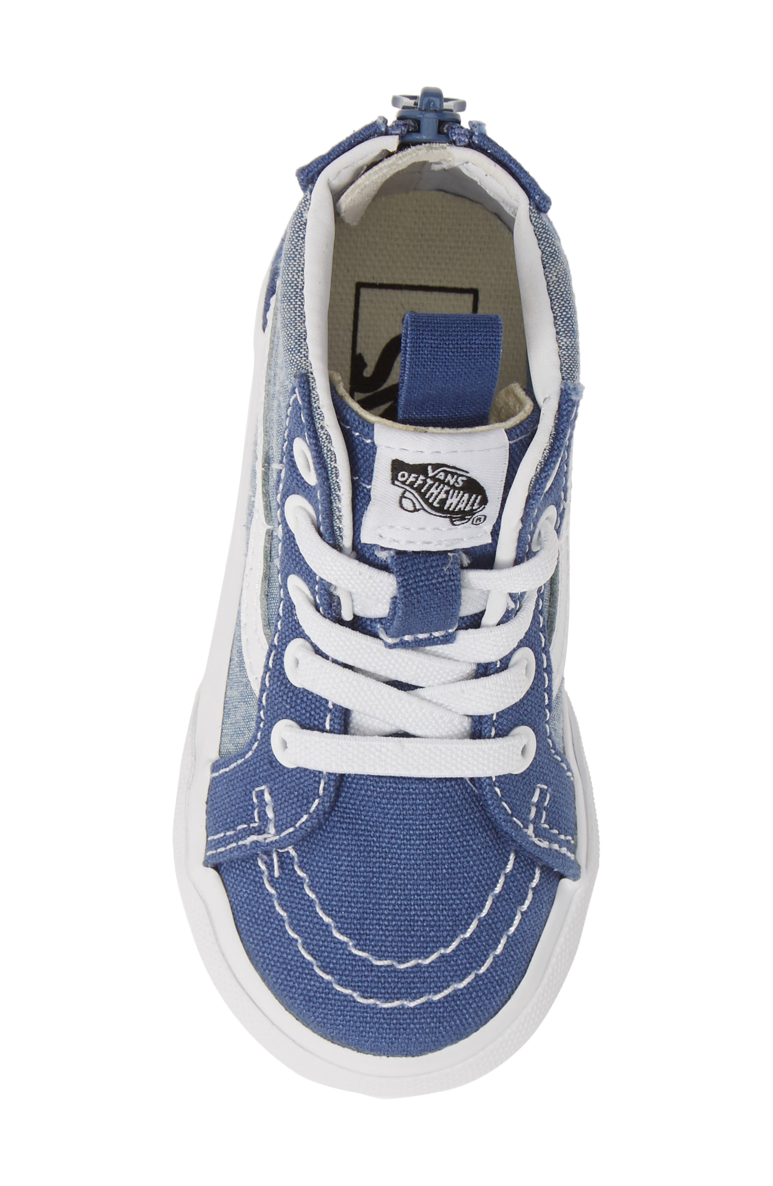 VANS, 'Sk8-Hi' Sneaker, Alternate thumbnail 5, color, CHAMBRAY CANVAS NAVY/ WHITE