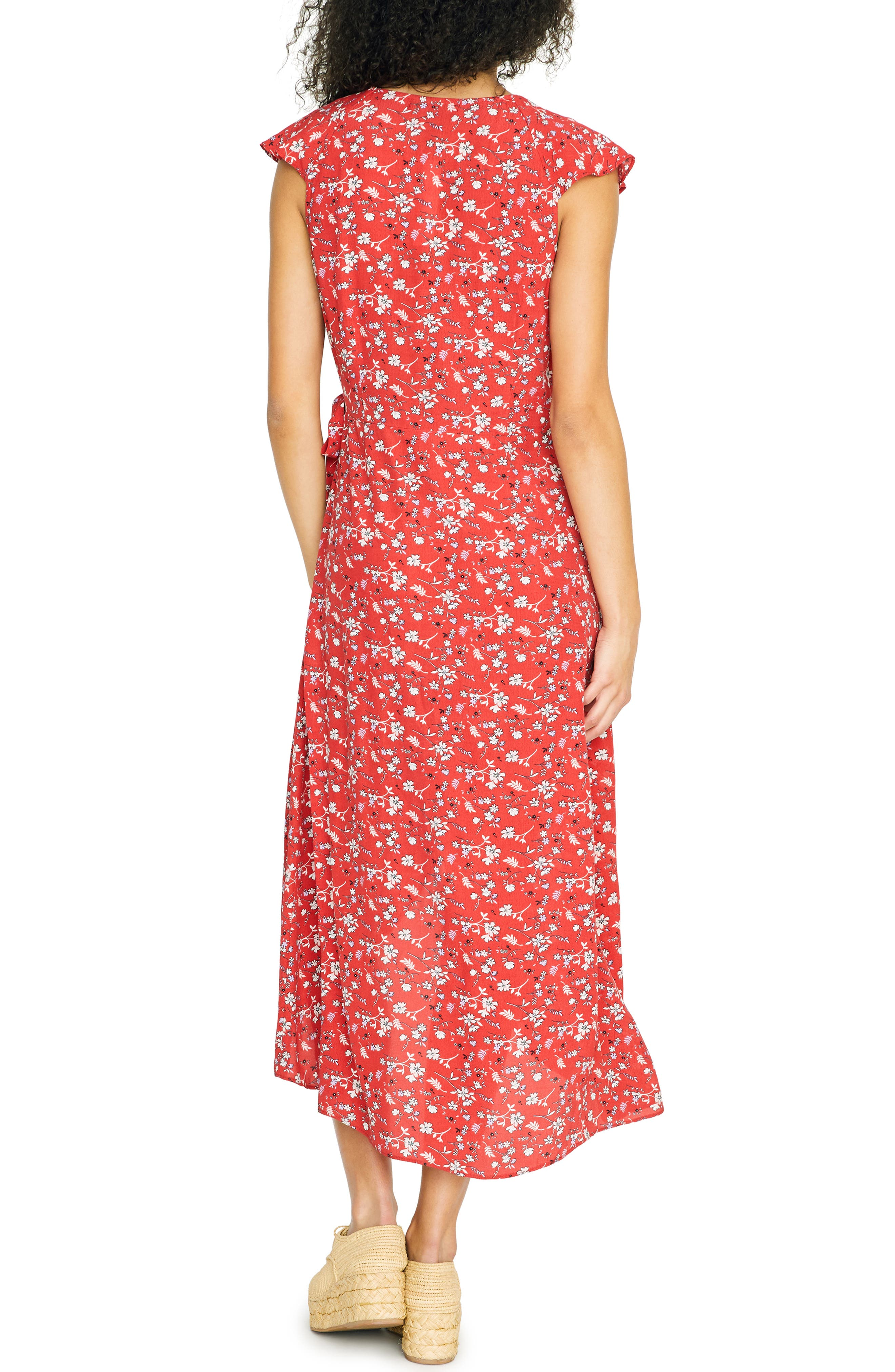 SANCTUARY, Jolynn Faux Wrap Midi Dress, Alternate thumbnail 2, color, SIMPLY RED