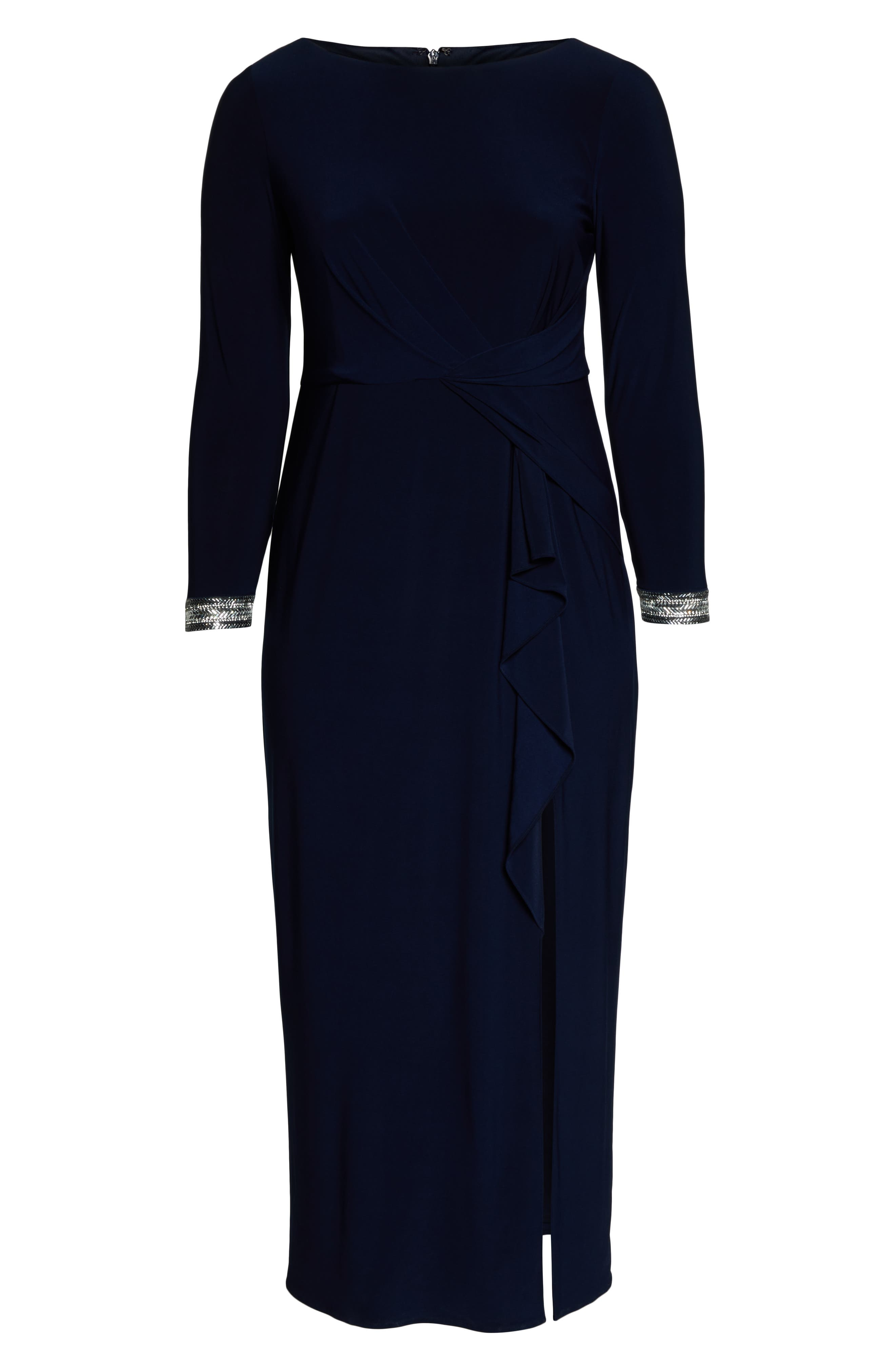 VINCE CAMUTO, Beaded Cuff Ruched Jersey Gown, Alternate thumbnail 7, color, NAVY
