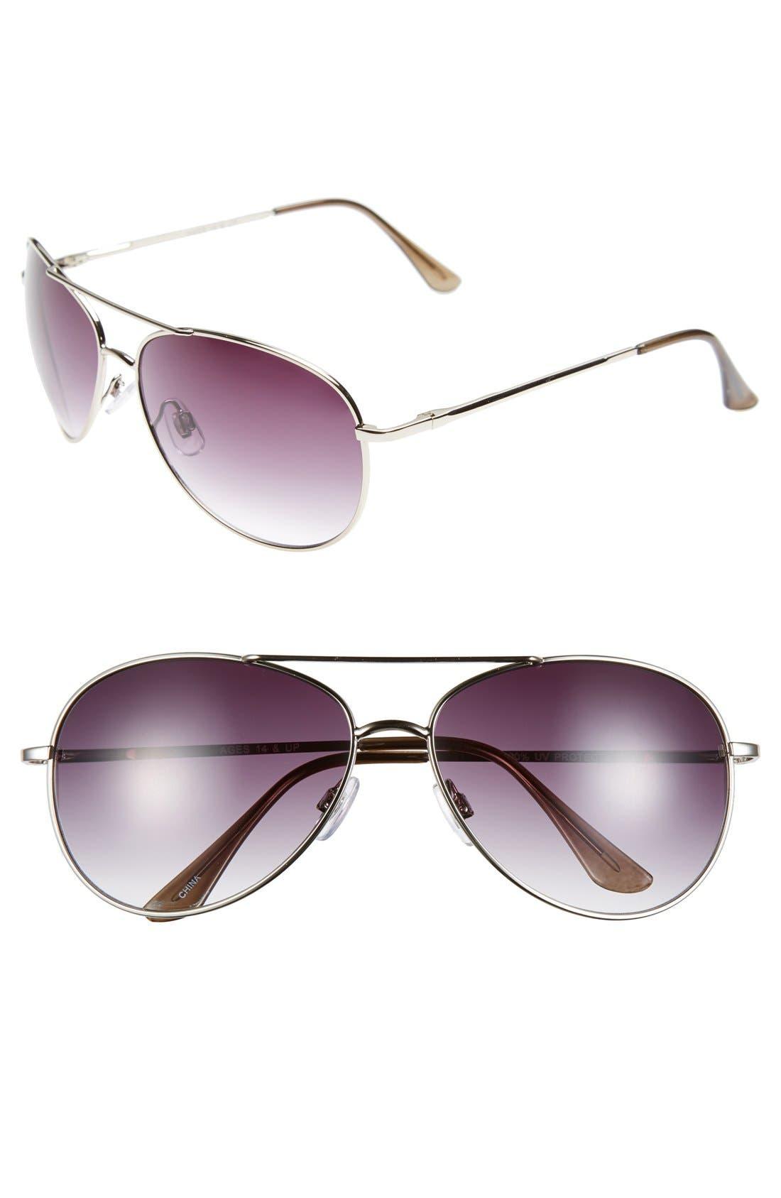 FANTASEYES, Fantas Eyes Aviator 60mm Sunglasses, Main thumbnail 1, color, 040