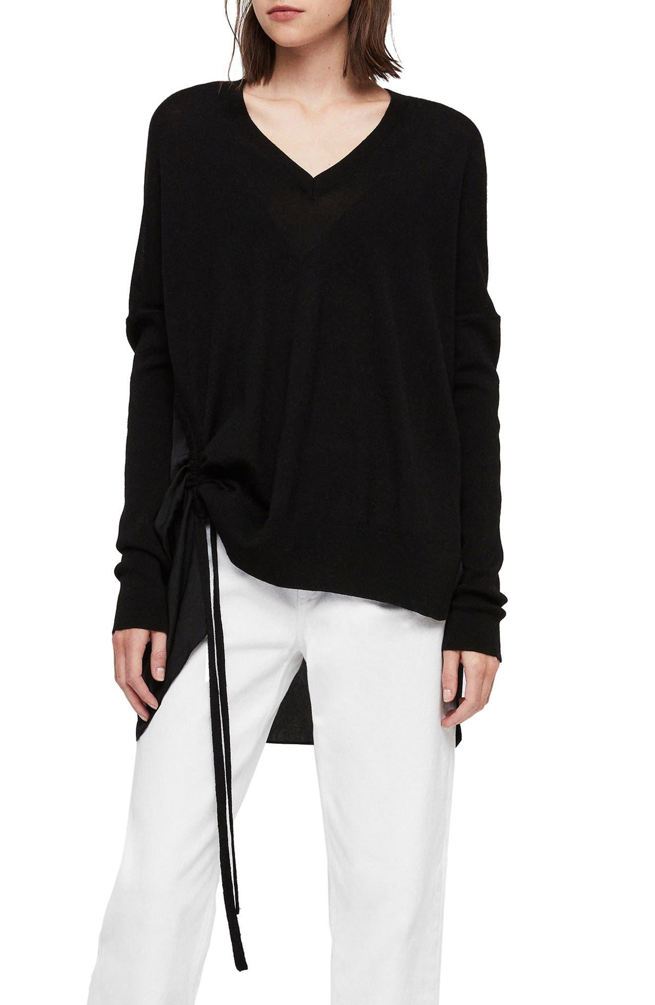 ALLSAINTS, Moira V-Neck Sweater, Main thumbnail 1, color, 001