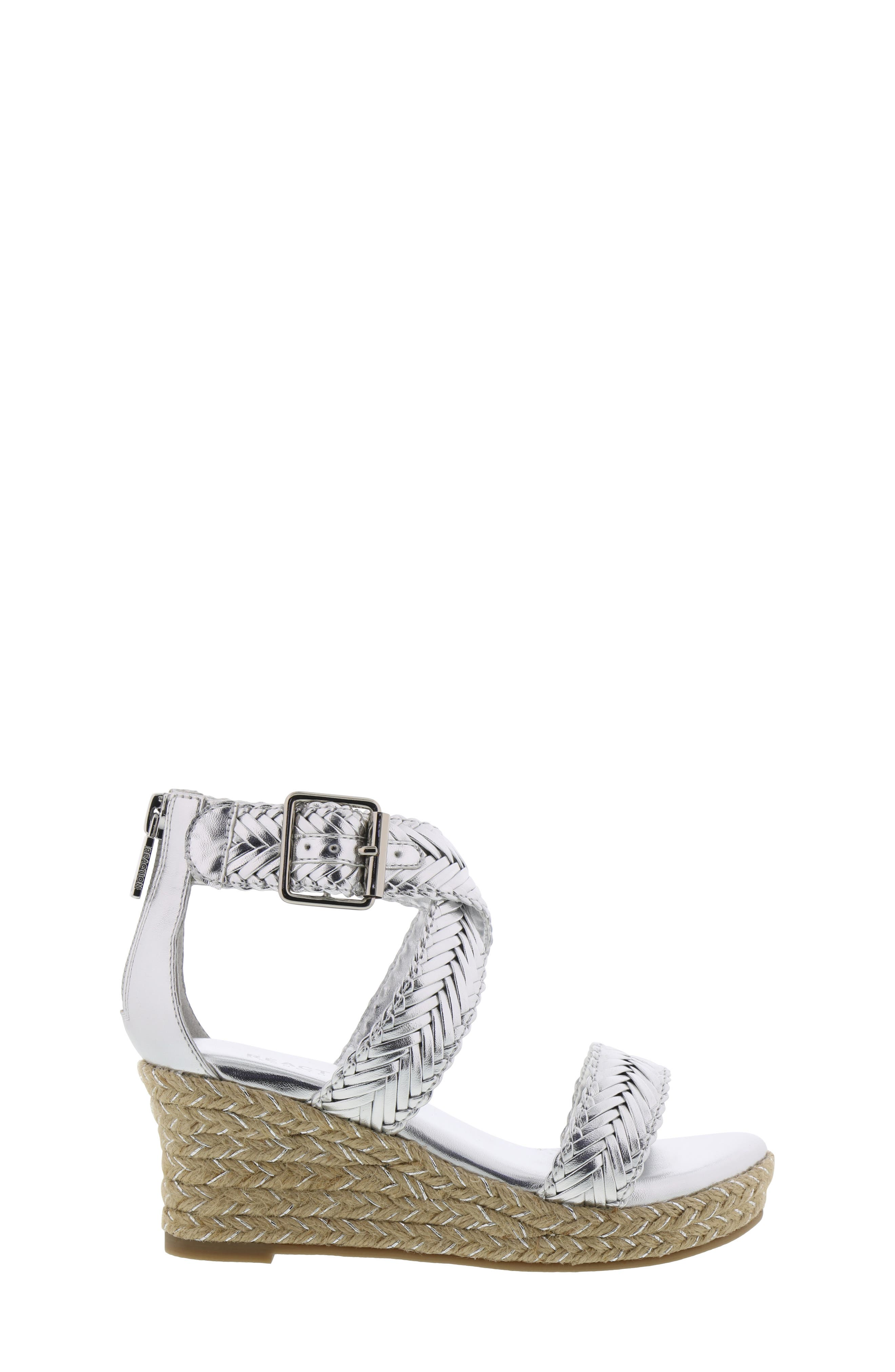 REACTION KENNETH COLE, Reed Sway Metallic Wedge Sandal, Alternate thumbnail 3, color, SILVER