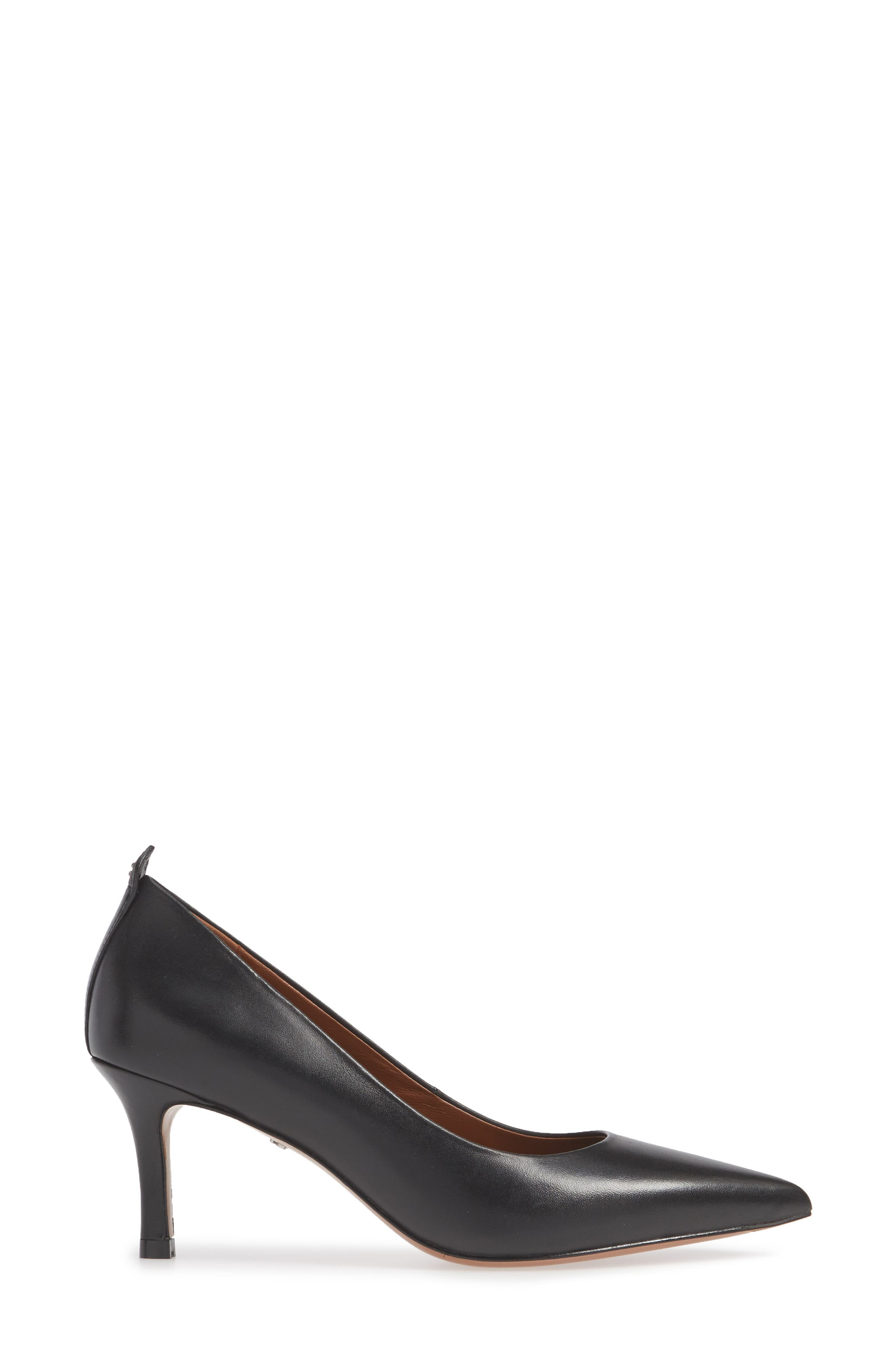 COACH, Waverly Mid Heel Pump, Alternate thumbnail 3, color, BLACK LEATHER