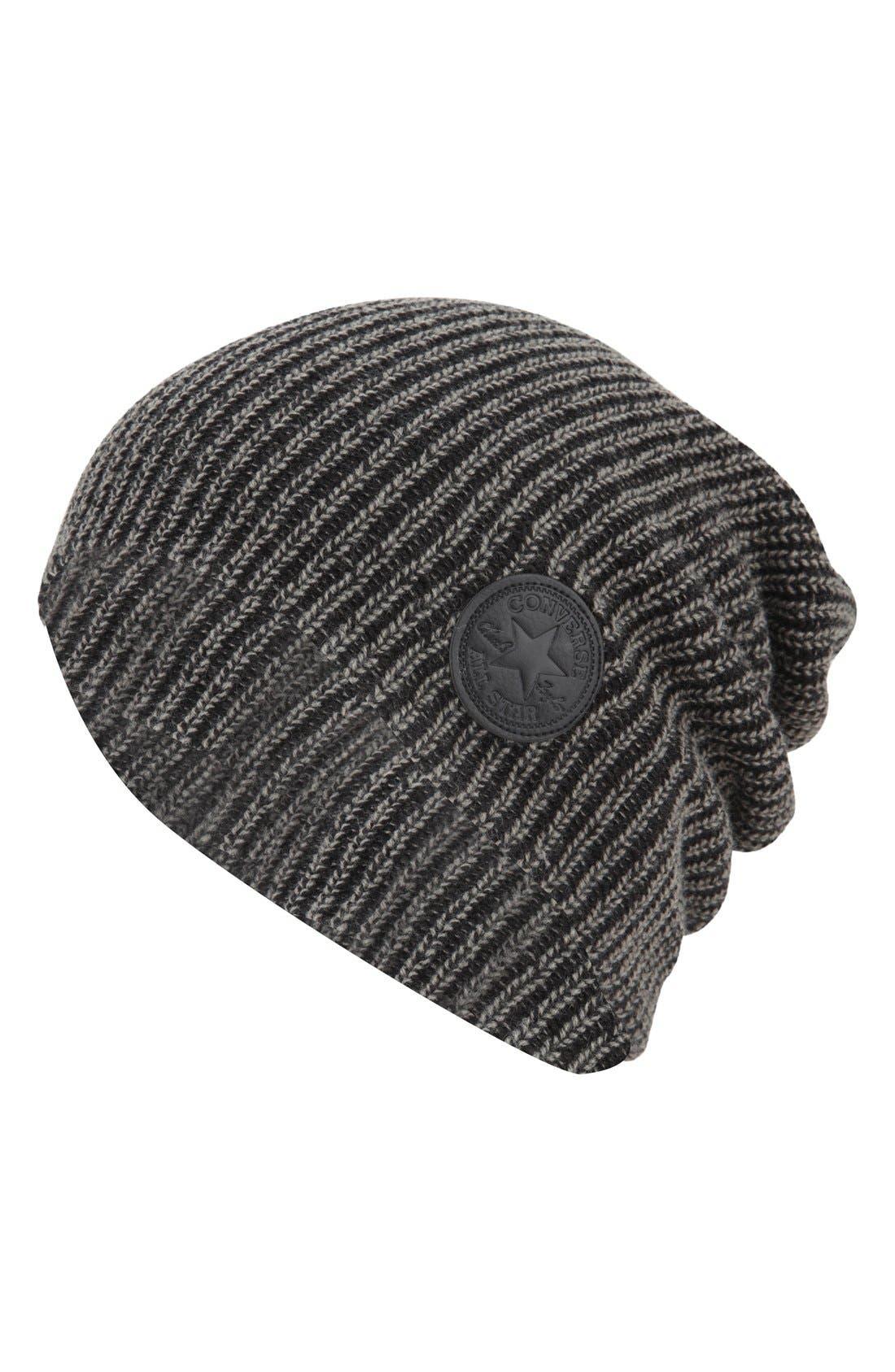 CONVERSE, 'Winter Slouch' Knit Cap, Main thumbnail 1, color, 001