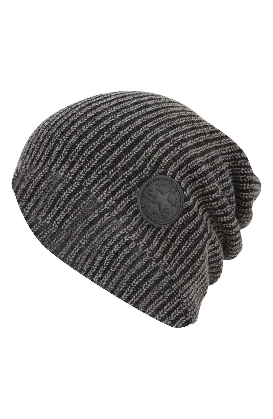 CONVERSE 'Winter Slouch' Knit Cap, Main, color, 001