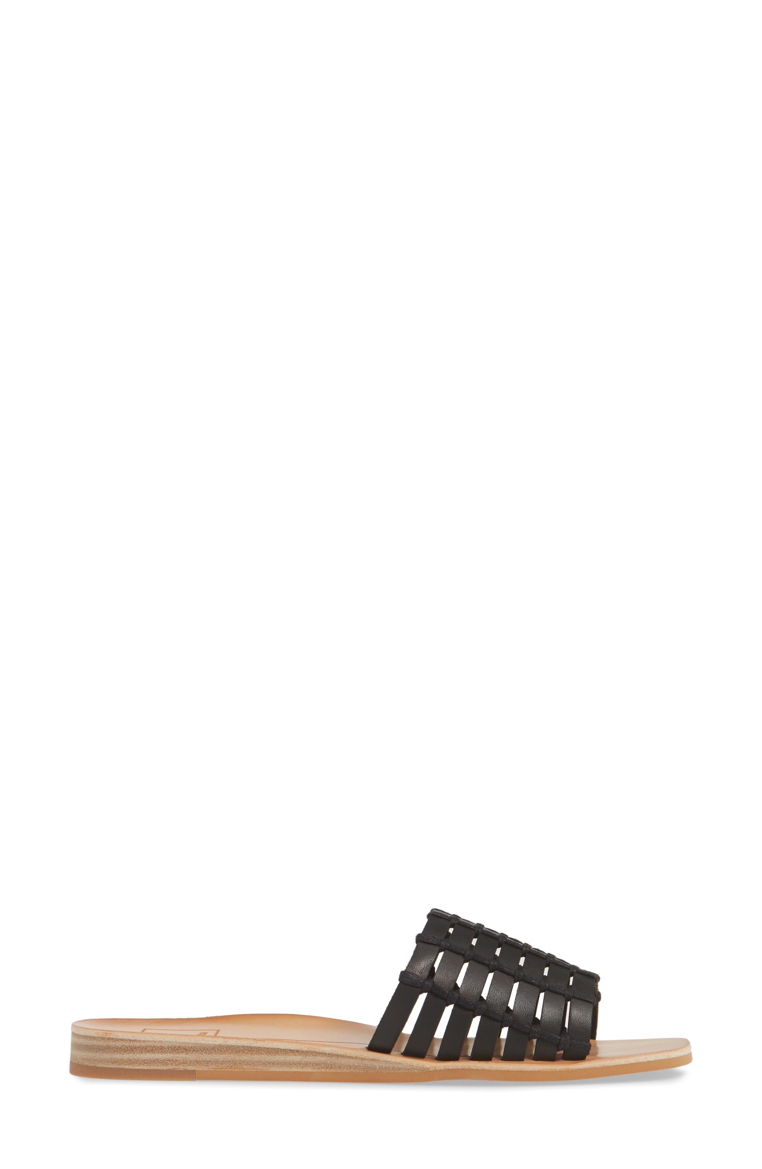 DOLCE VITA, Colsen Slide Sandal, Alternate thumbnail 3, color, BLACK LEATHER