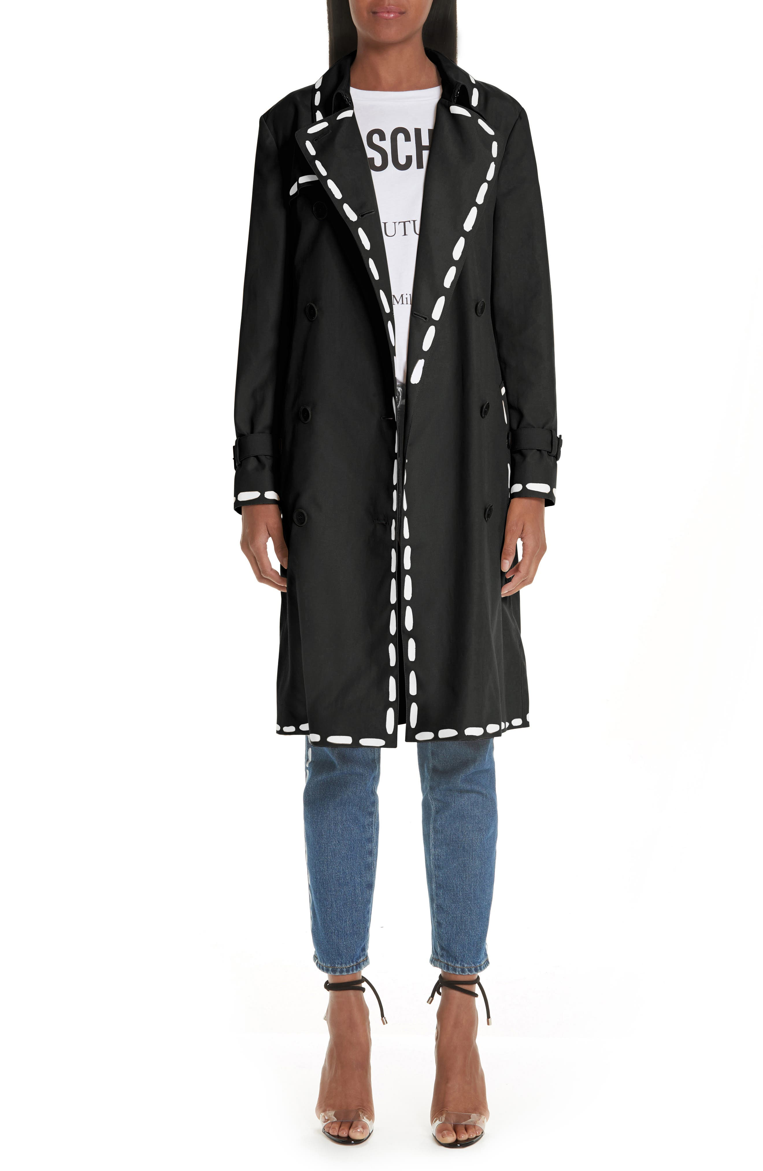 MOSCHINO, Dotted Line Trench Coat, Alternate thumbnail 7, color, BLACK