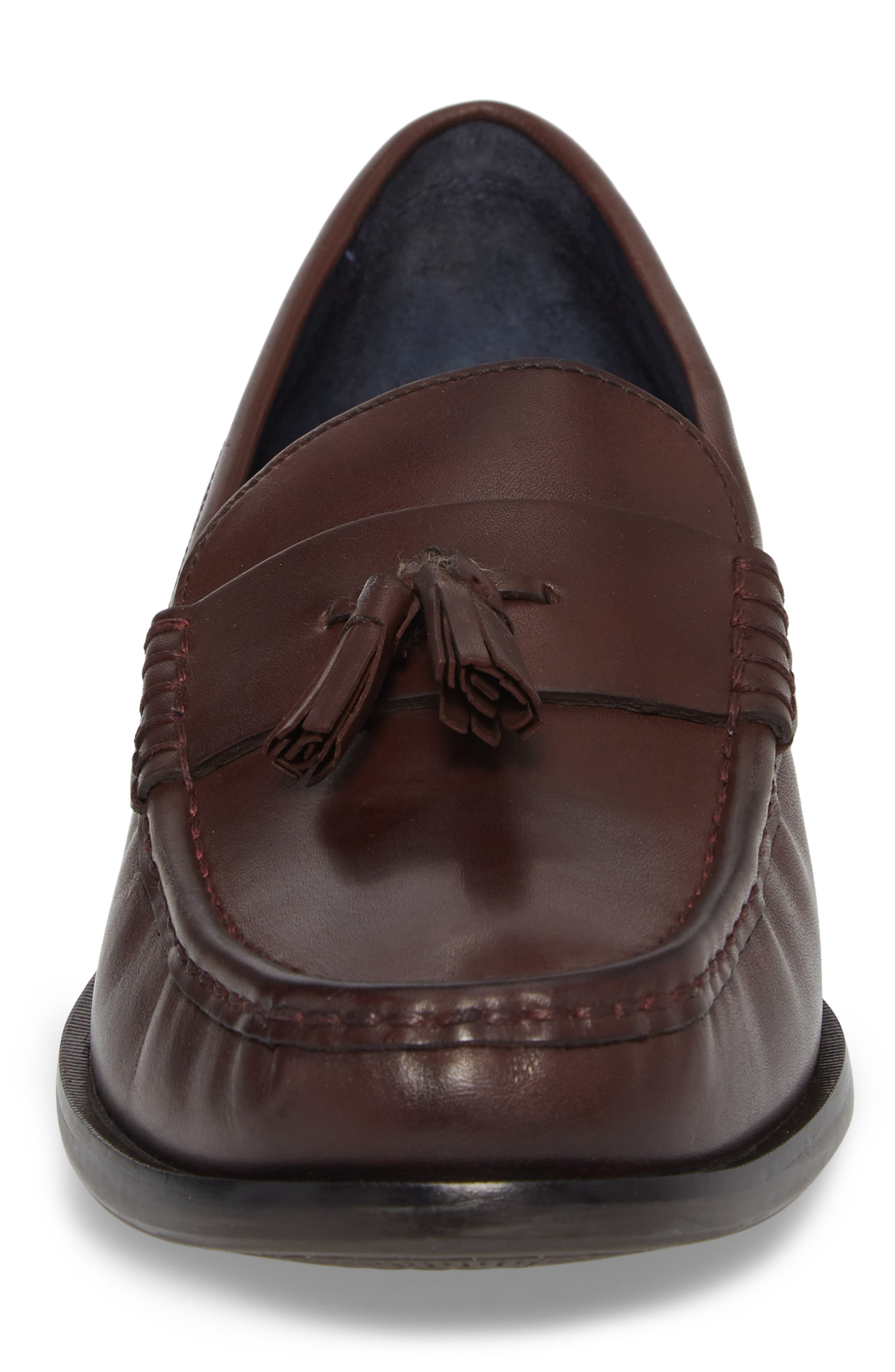 COLE HAAN, Pinch Friday Tassel Loafer, Alternate thumbnail 4, color, BURGUNDY LEATHER