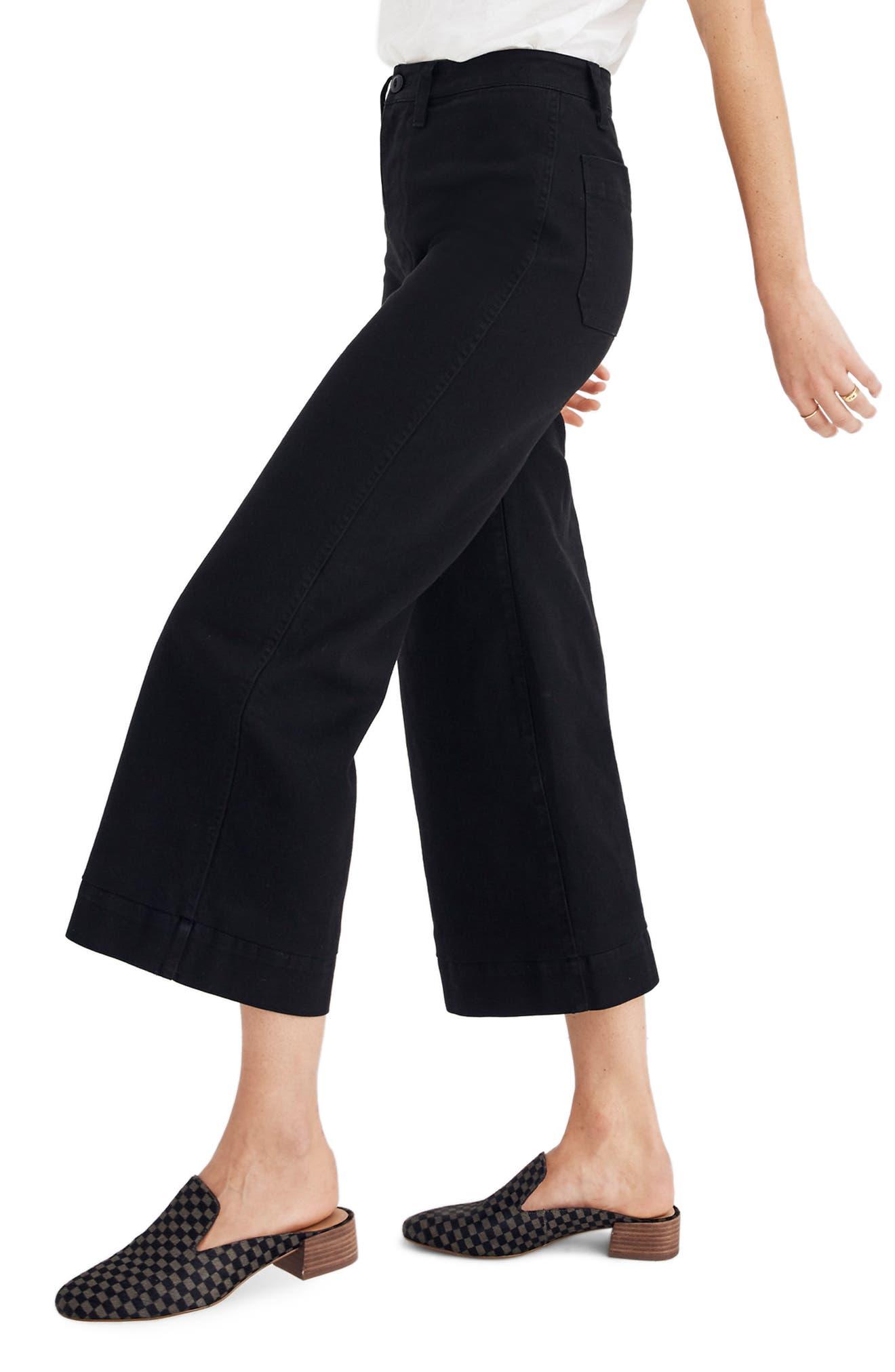 MADEWELL, Emmett Crop Wide Leg Pants, Alternate thumbnail 4, color, CLASSIC BLACK