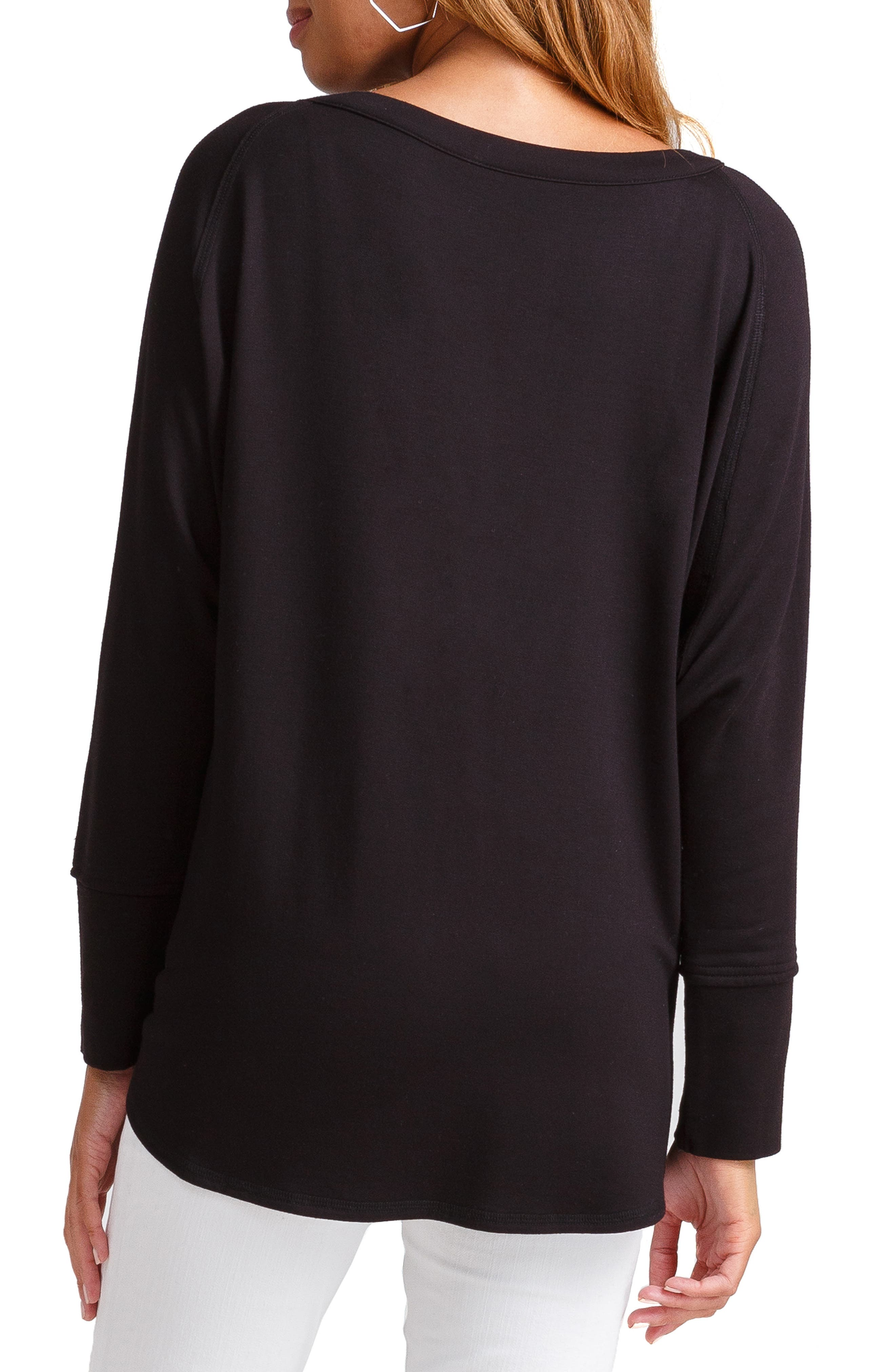 INGRID & ISABEL<SUP>®</SUP>, Lace-Up Cocoon Maternity Top, Alternate thumbnail 2, color, JET BLACK