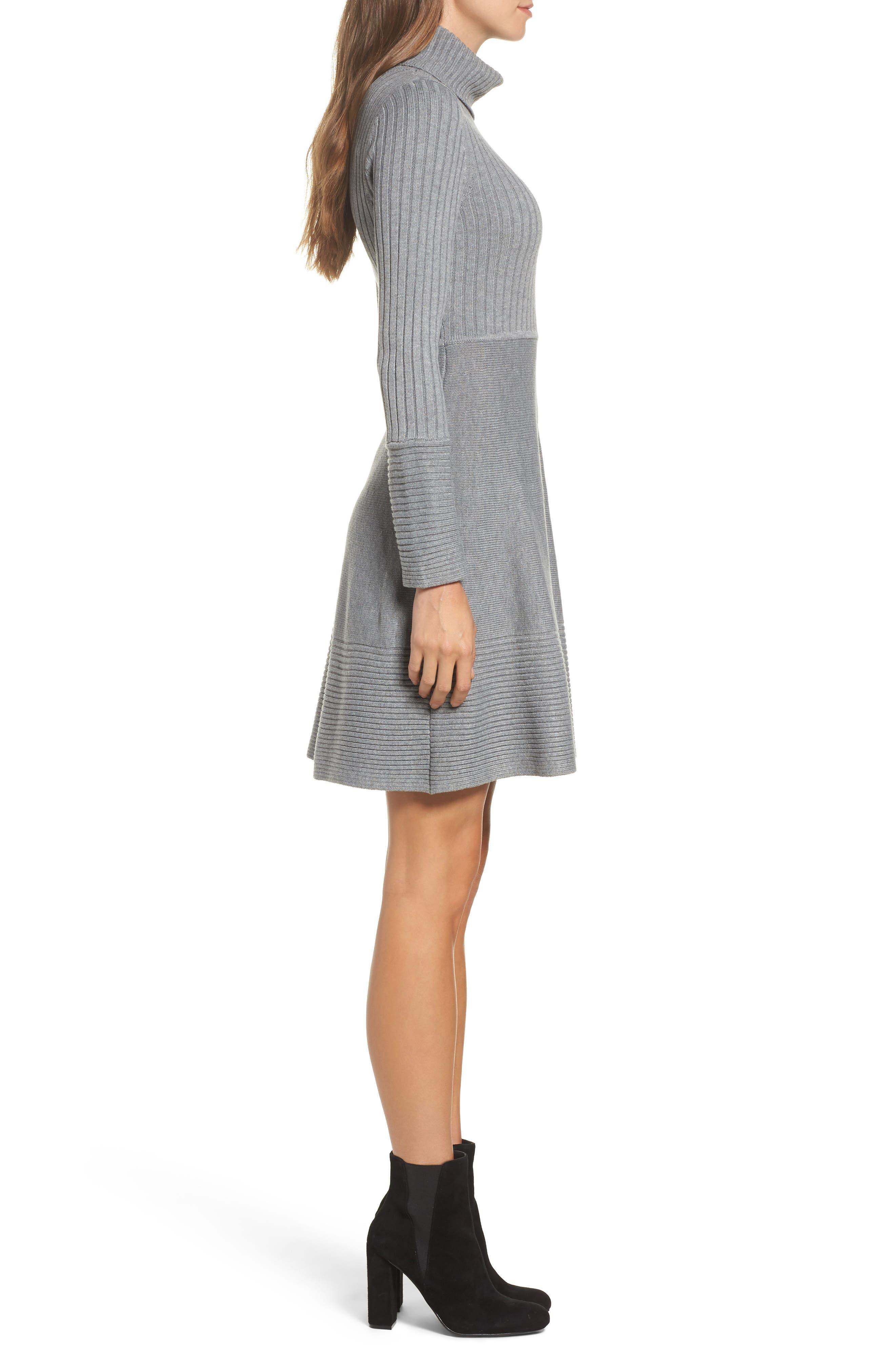 ELIZA J, Turtleneck Sweater Dress, Alternate thumbnail 4, color, GREY