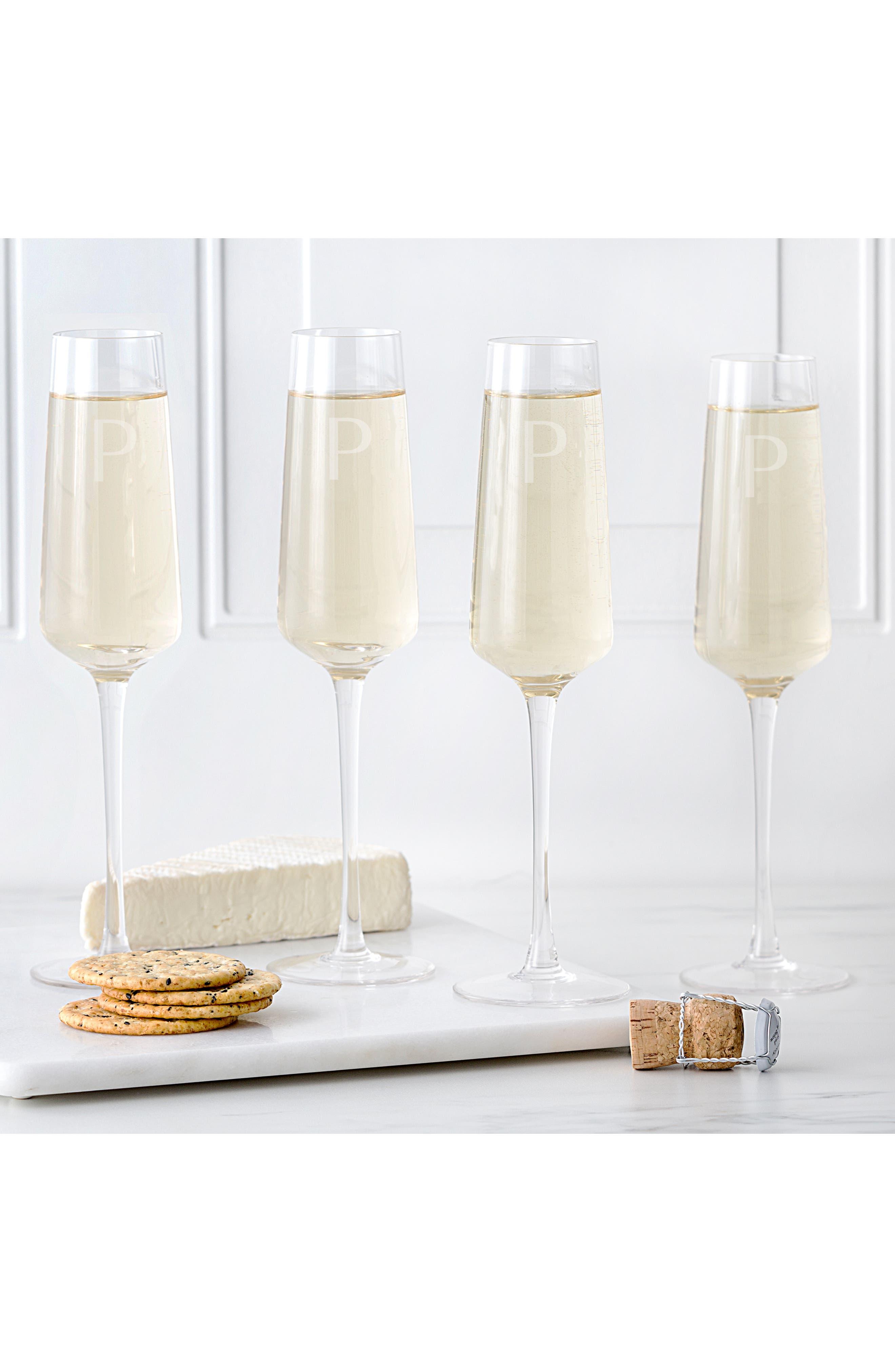 CATHY'S CONCEPTS, Estate Collection Set of 4 Monogram Champagne Flutes, Alternate thumbnail 5, color, A