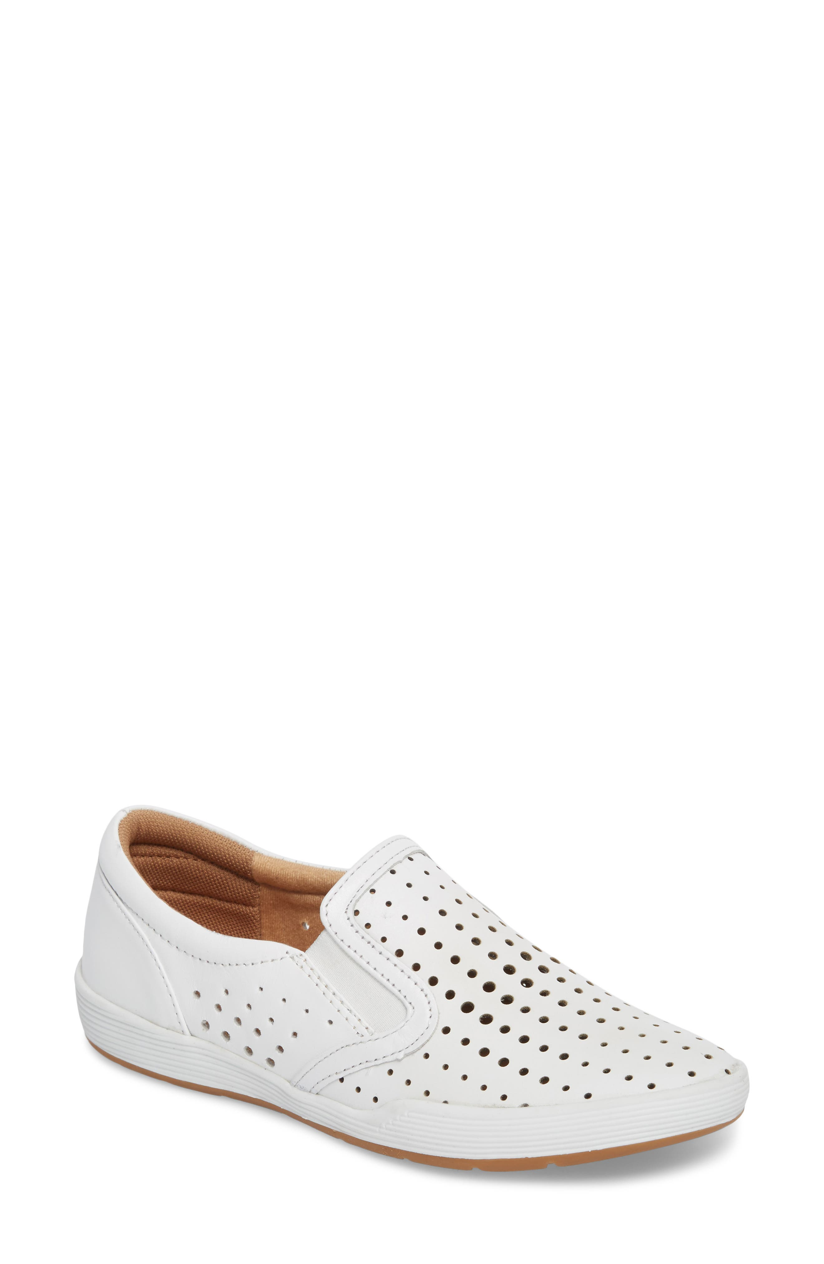 COMFORTIVA, Lyra Perforated Slip-On Sneaker, Main thumbnail 1, color, WHITE LEATHER