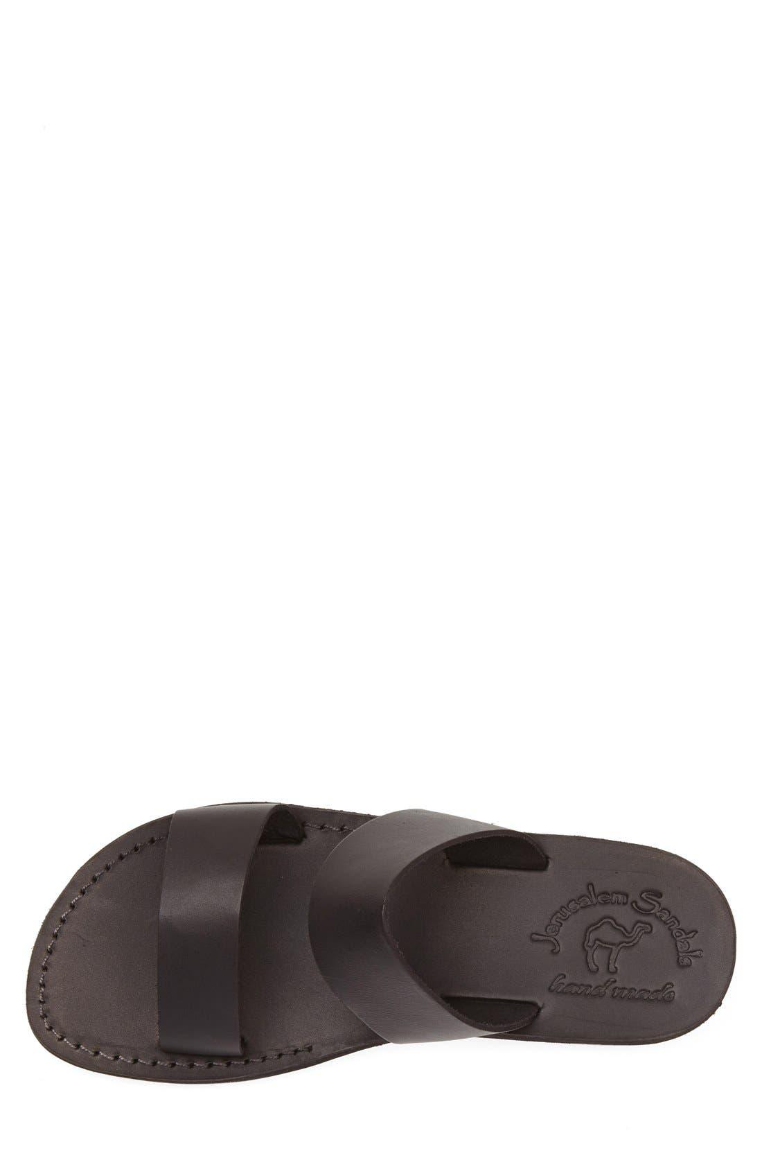 JERUSALEM SANDALS, 'Aviv' Leather Sandal, Alternate thumbnail 3, color, BLACK