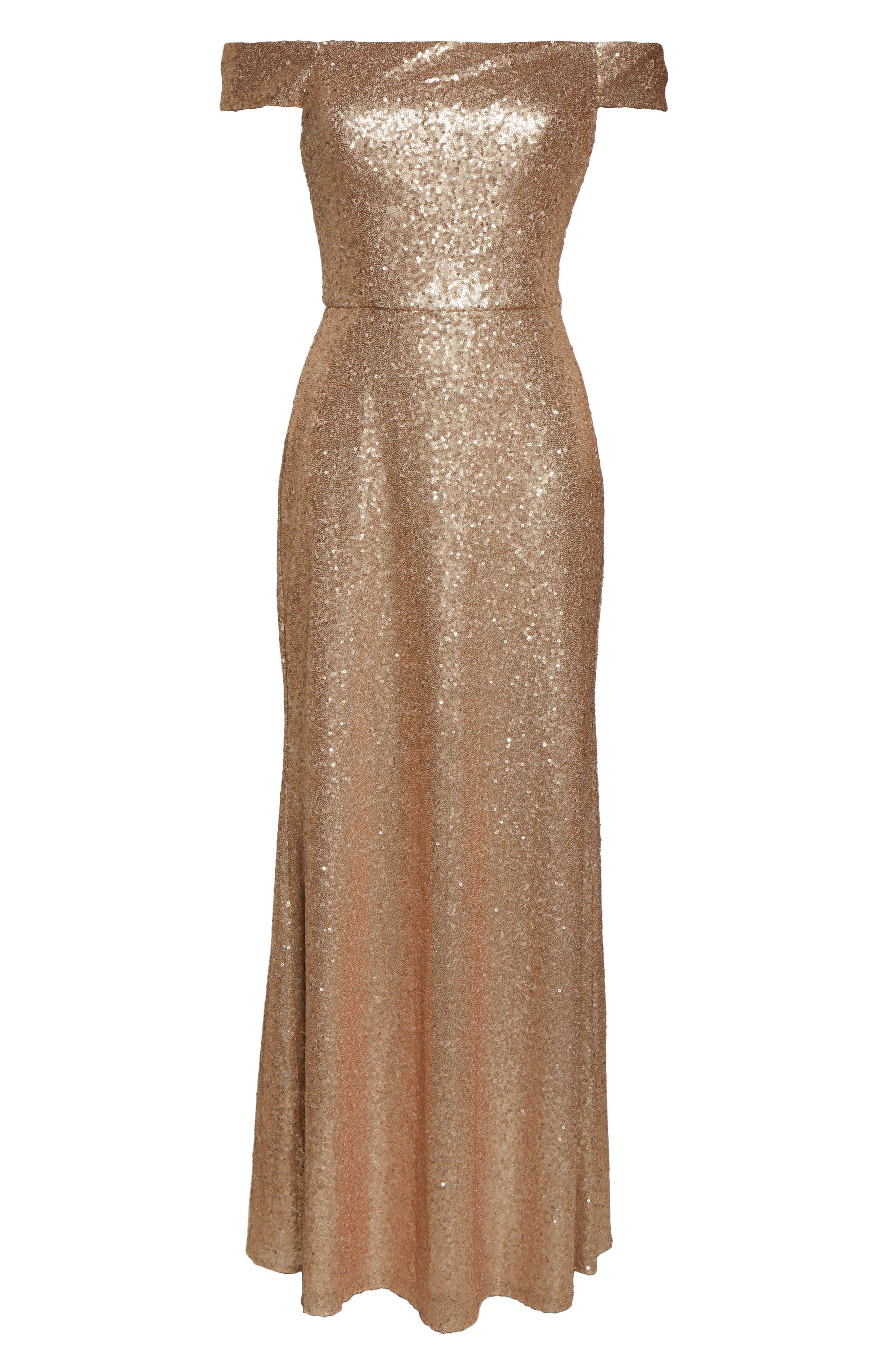 DESSY COLLECTION, Sequin Off the Shoulder Gown, Alternate thumbnail 3, color, ROSE GOLD