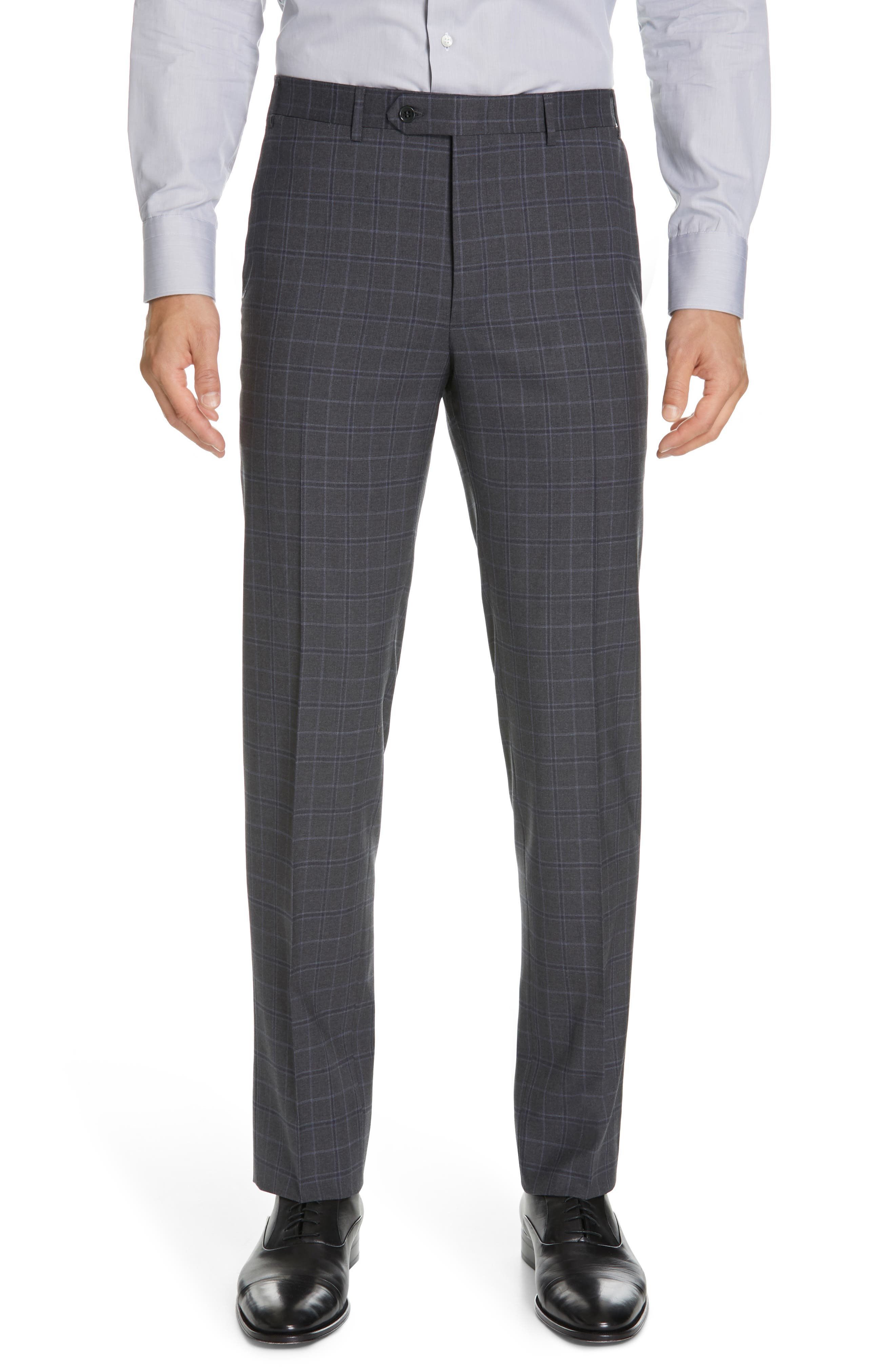 CANALI, Sienna Classic Fit Plaid Wool Suit, Alternate thumbnail 6, color, CHARCOAL