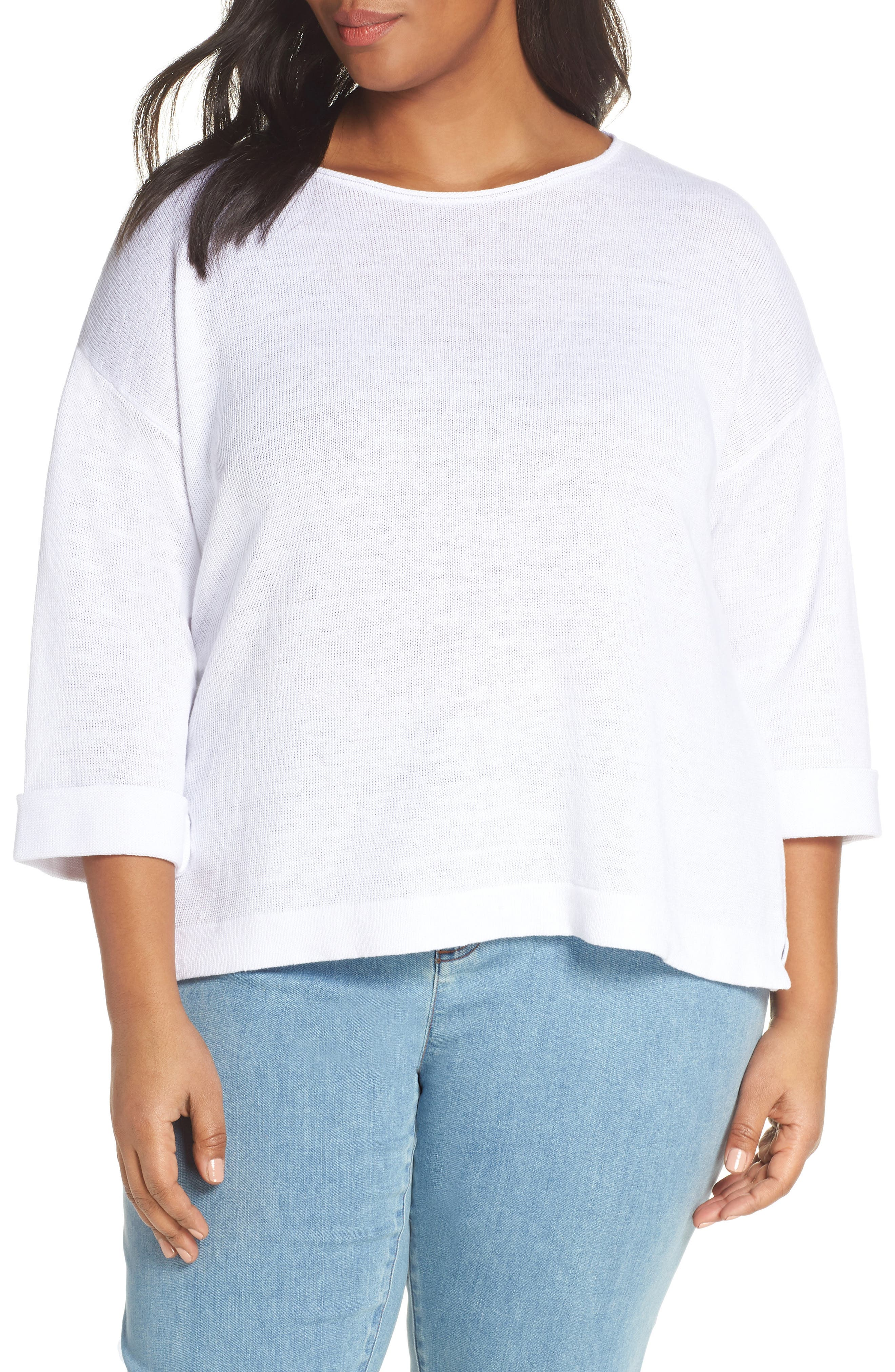EILEEN FISHER, Round Neck Top, Main thumbnail 1, color, WHITE