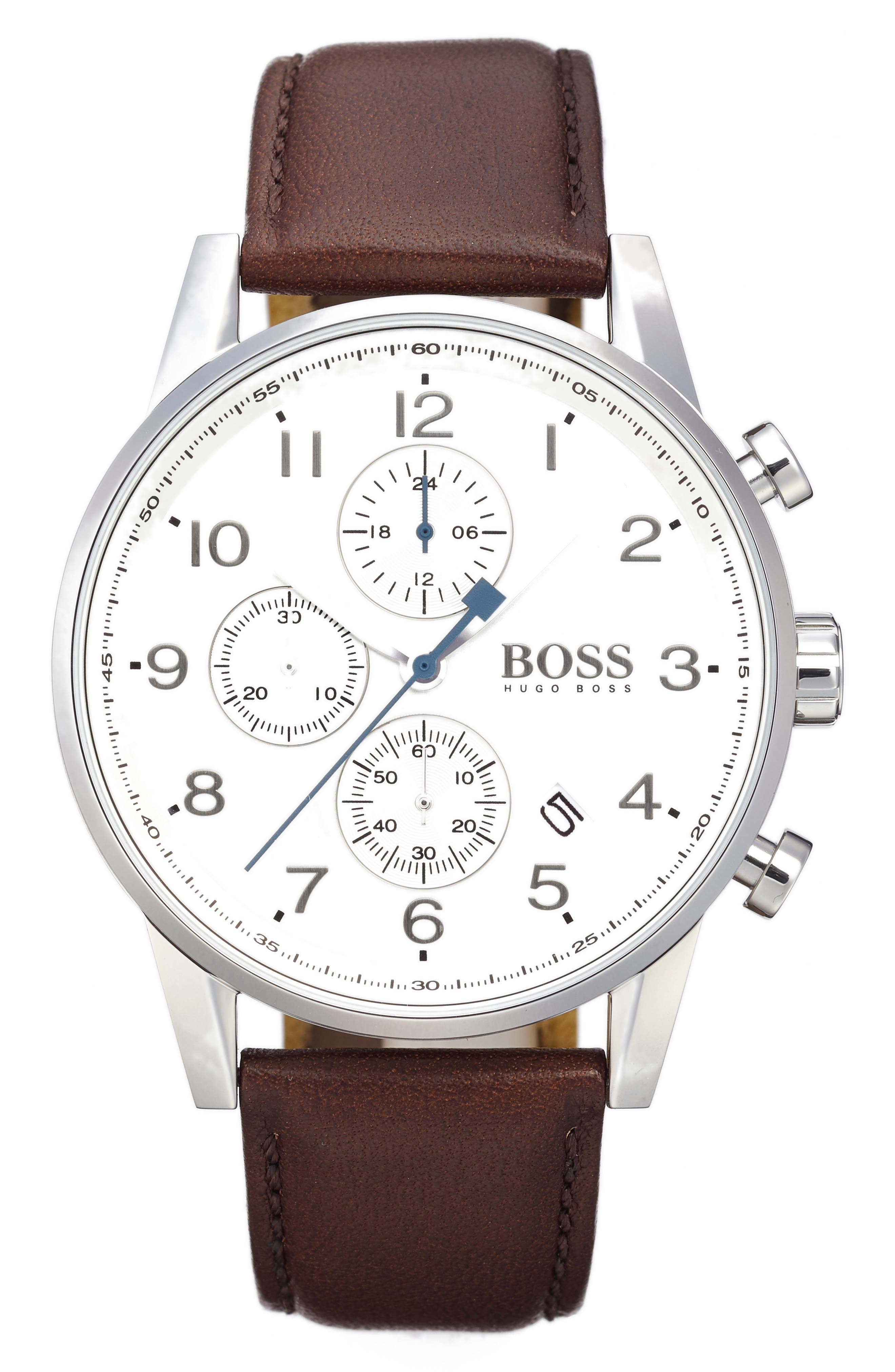 BOSS, Chronograph Leather Strap Watch, 44mm, Main thumbnail 1, color, WHITE/ BROWN