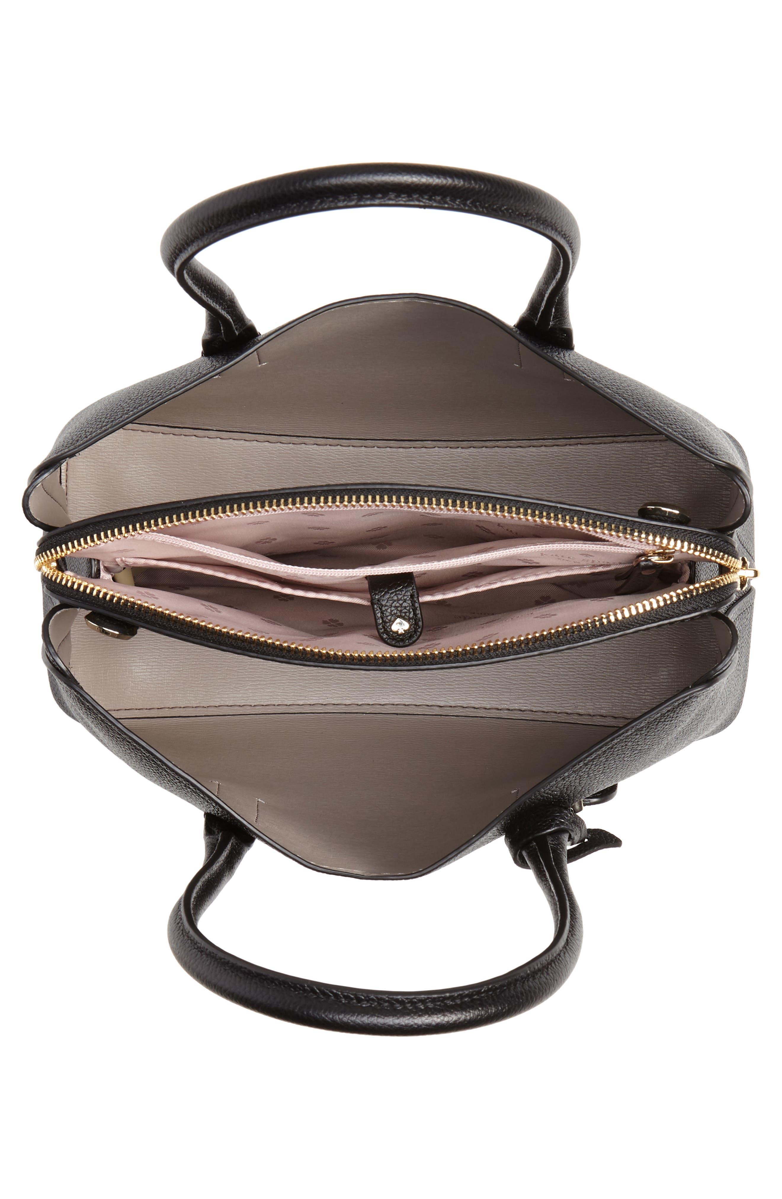 KATE SPADE NEW YORK, medium margaux leather satchel, Alternate thumbnail 5, color, BLACK