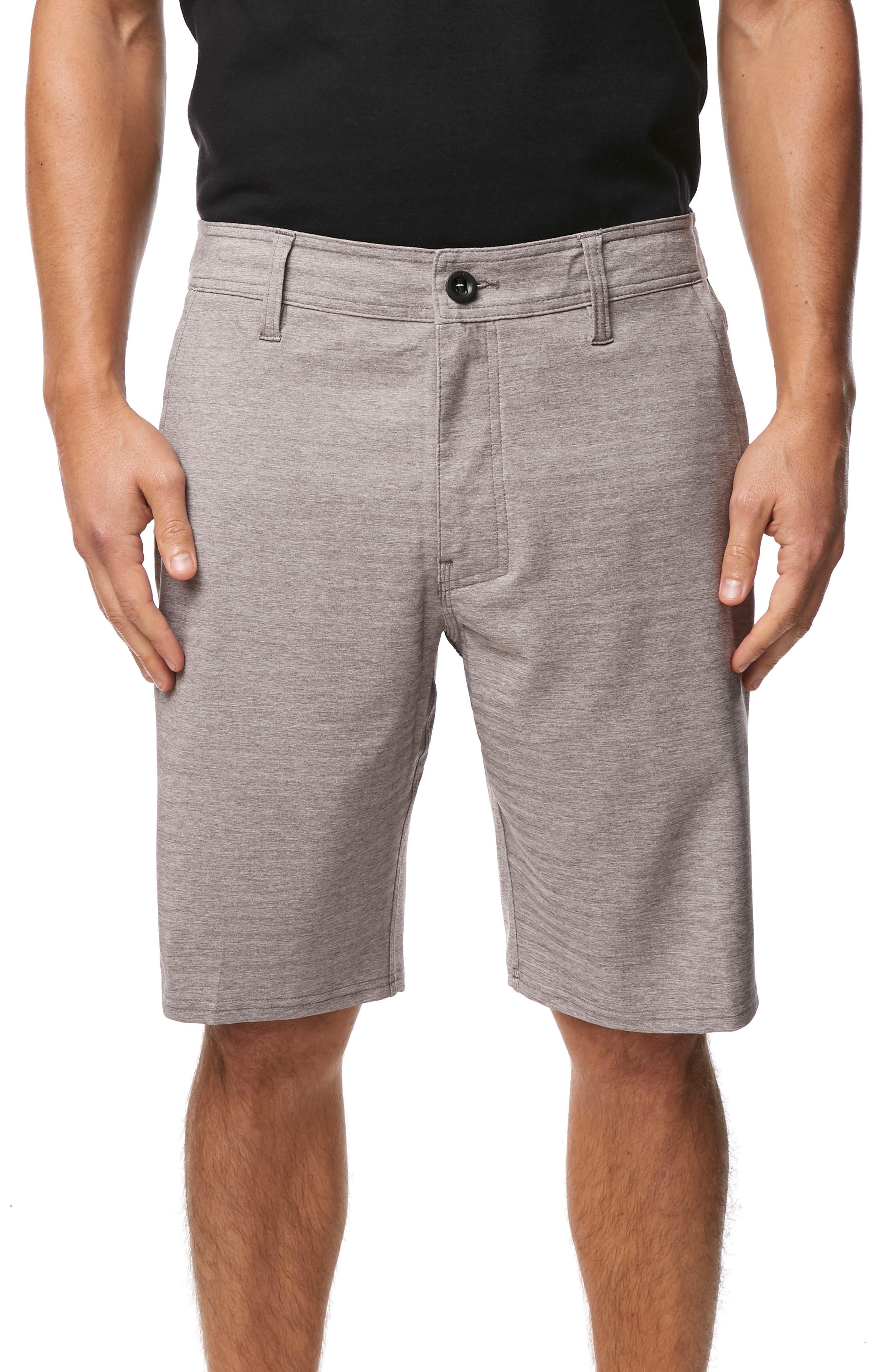 O'NEILL, Locked Herringbone Hybrid Shorts, Main thumbnail 1, color, GUN METAL