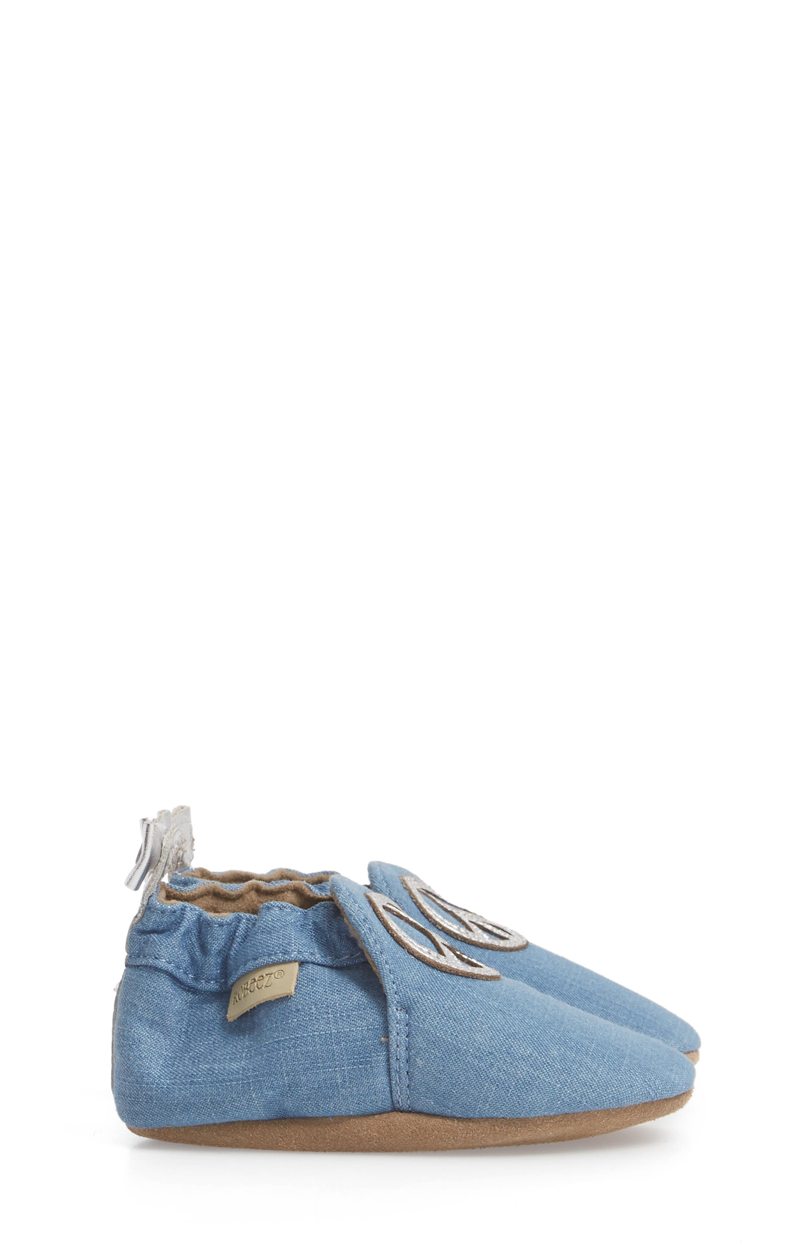 ROBEEZ<SUP>®</SUP>, Peace Out Moccasin Crib Shoe, Alternate thumbnail 3, color, BLUE
