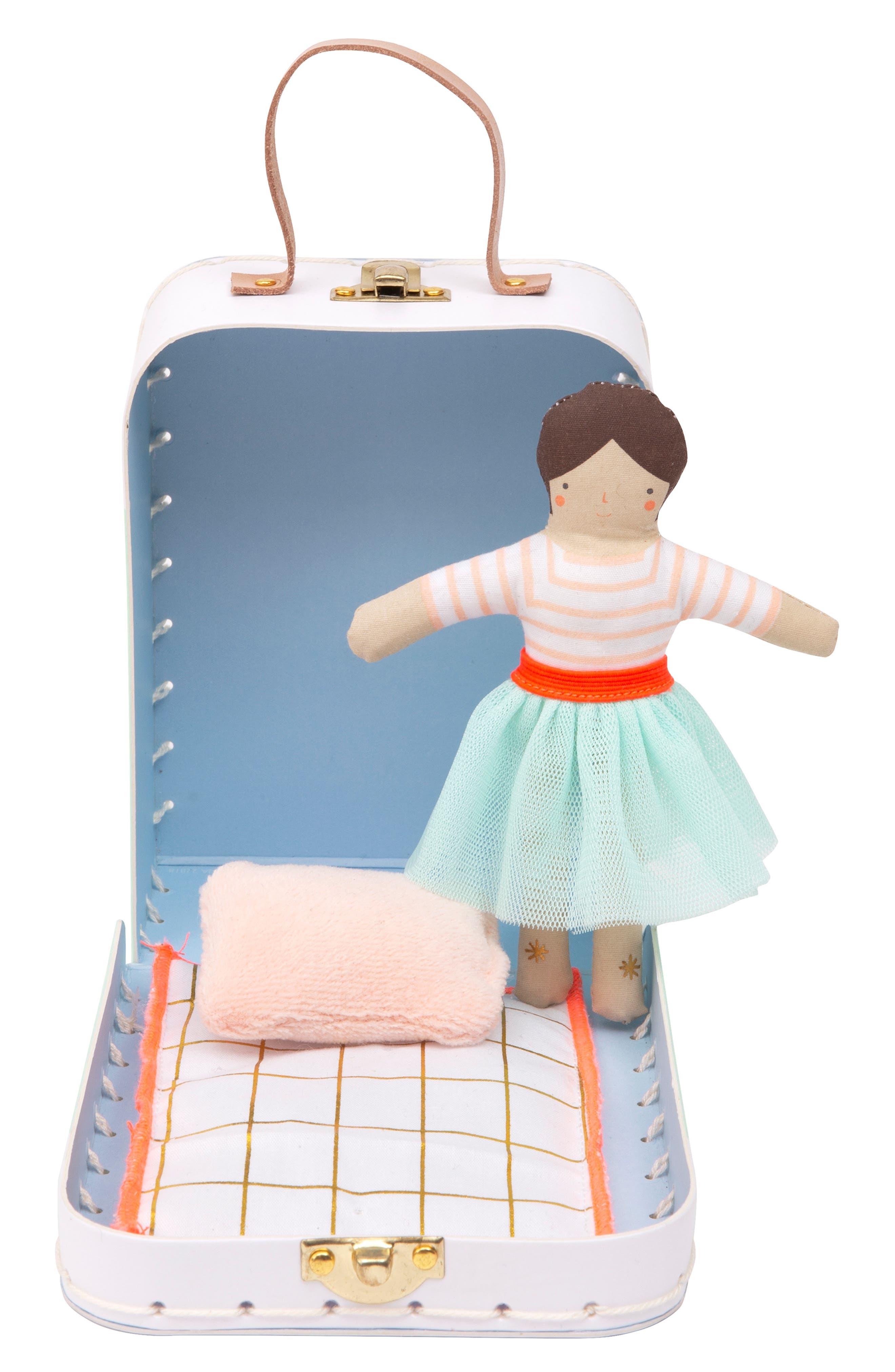 Girls Meri Meri Mini Lila Doll  Suitcase Set