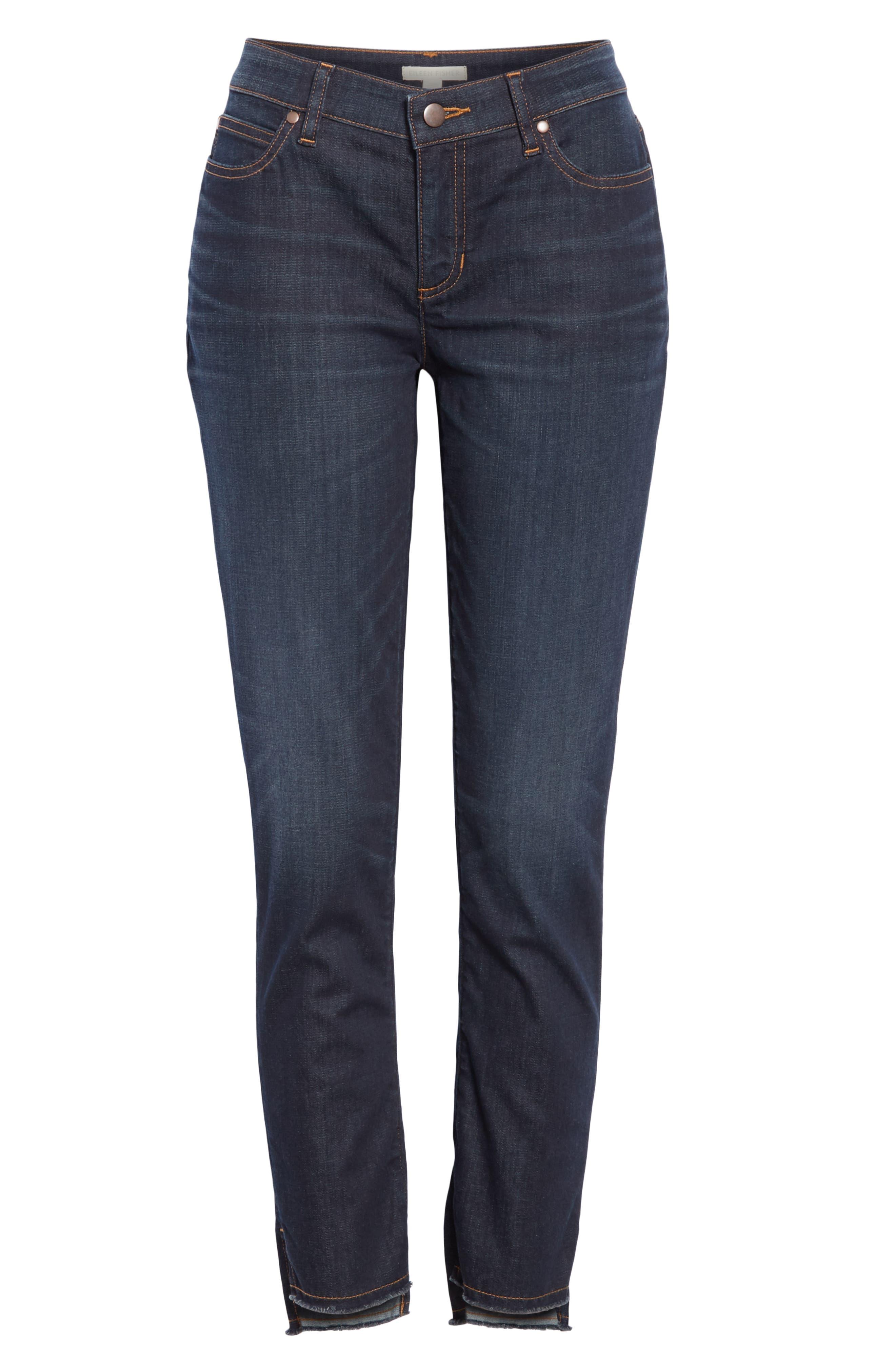 EILEEN FISHER, Raw Step Hem Slim Ankle Jeans, Alternate thumbnail 7, color, UTILITY BLUE