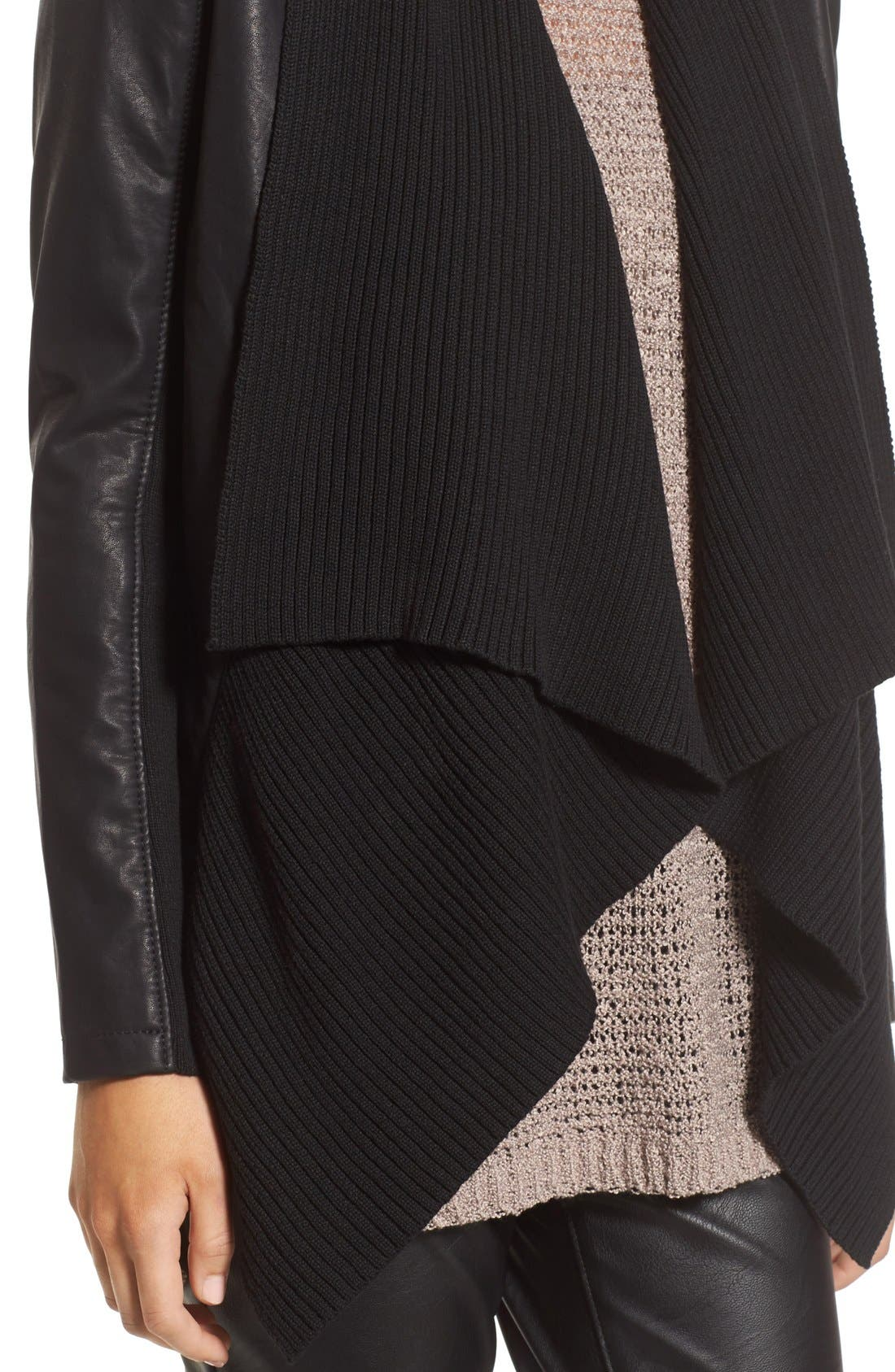 BLANKNYC, All or Nothing Faux Leather Jacket, Alternate thumbnail 5, color, 001