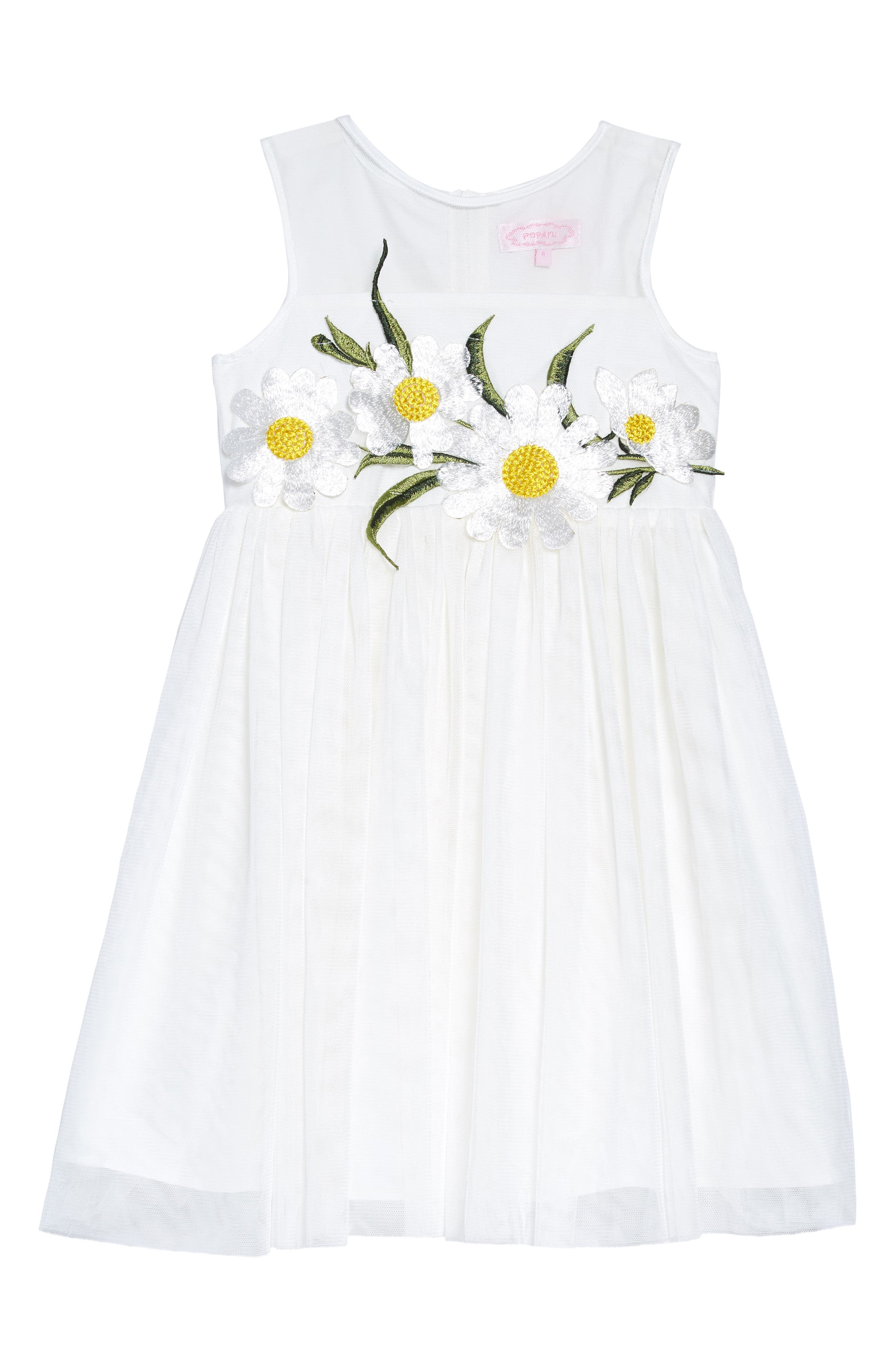 POPATU, Daisy Tulle Dress, Main thumbnail 1, color, WHITE