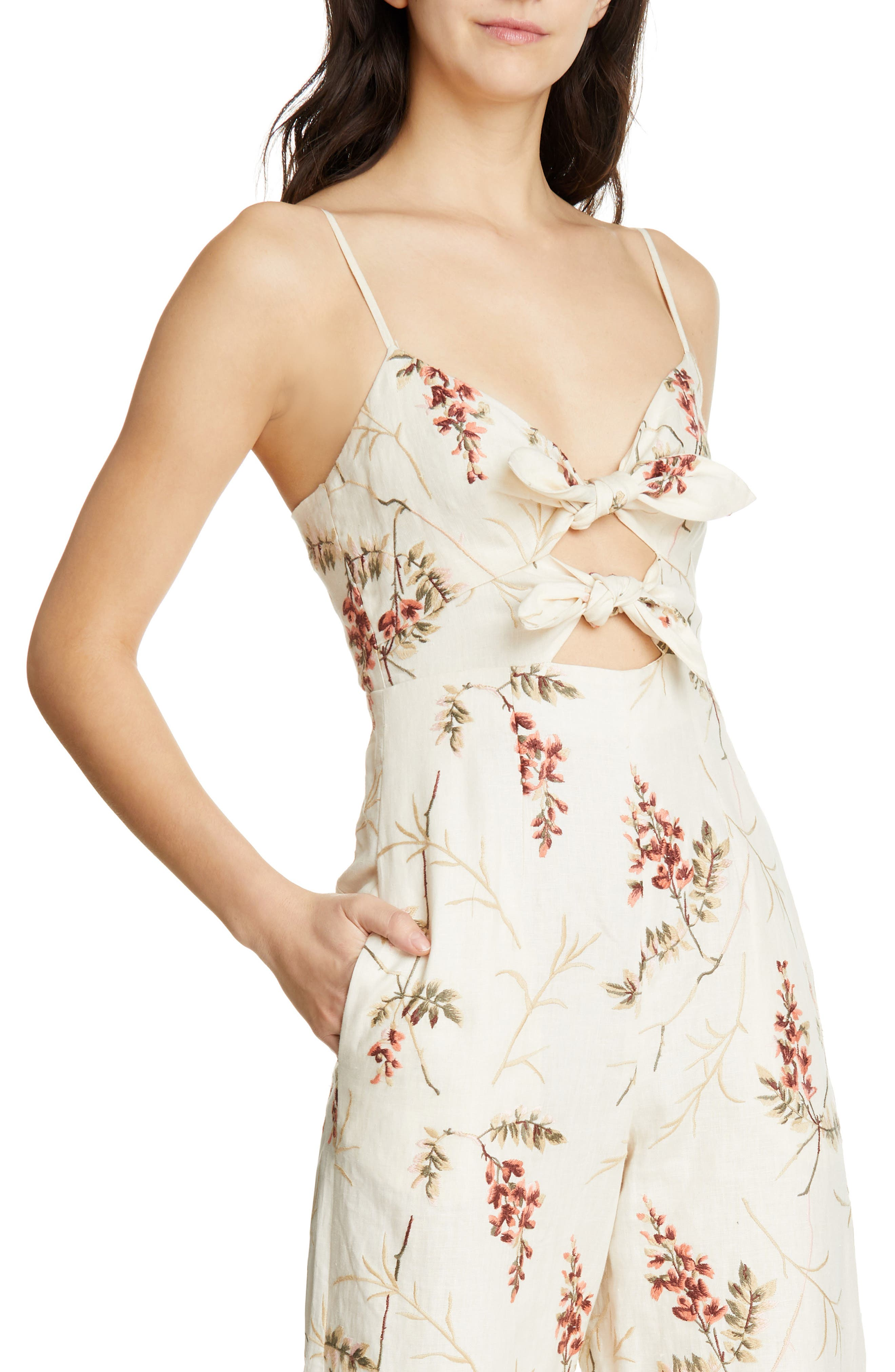 REBECCA TAYLOR, Embroidered Linen Jumpsuit, Alternate thumbnail 5, color, CREAM COMBO