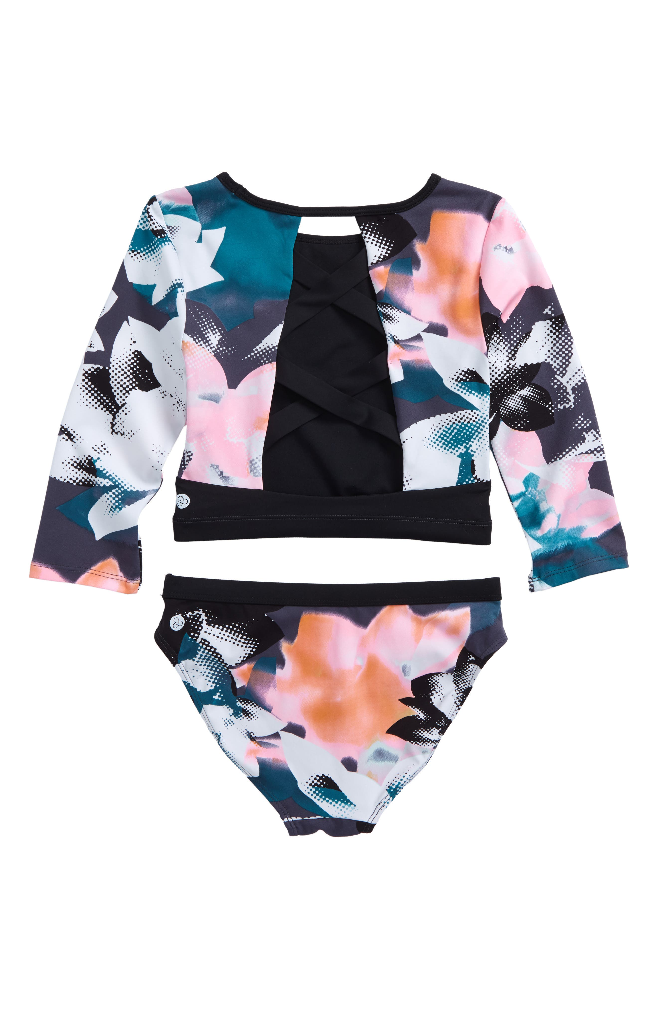 ZELLA GIRL, Scoop Two-Piece Rashguard Swimsuit, Alternate thumbnail 2, color, 001