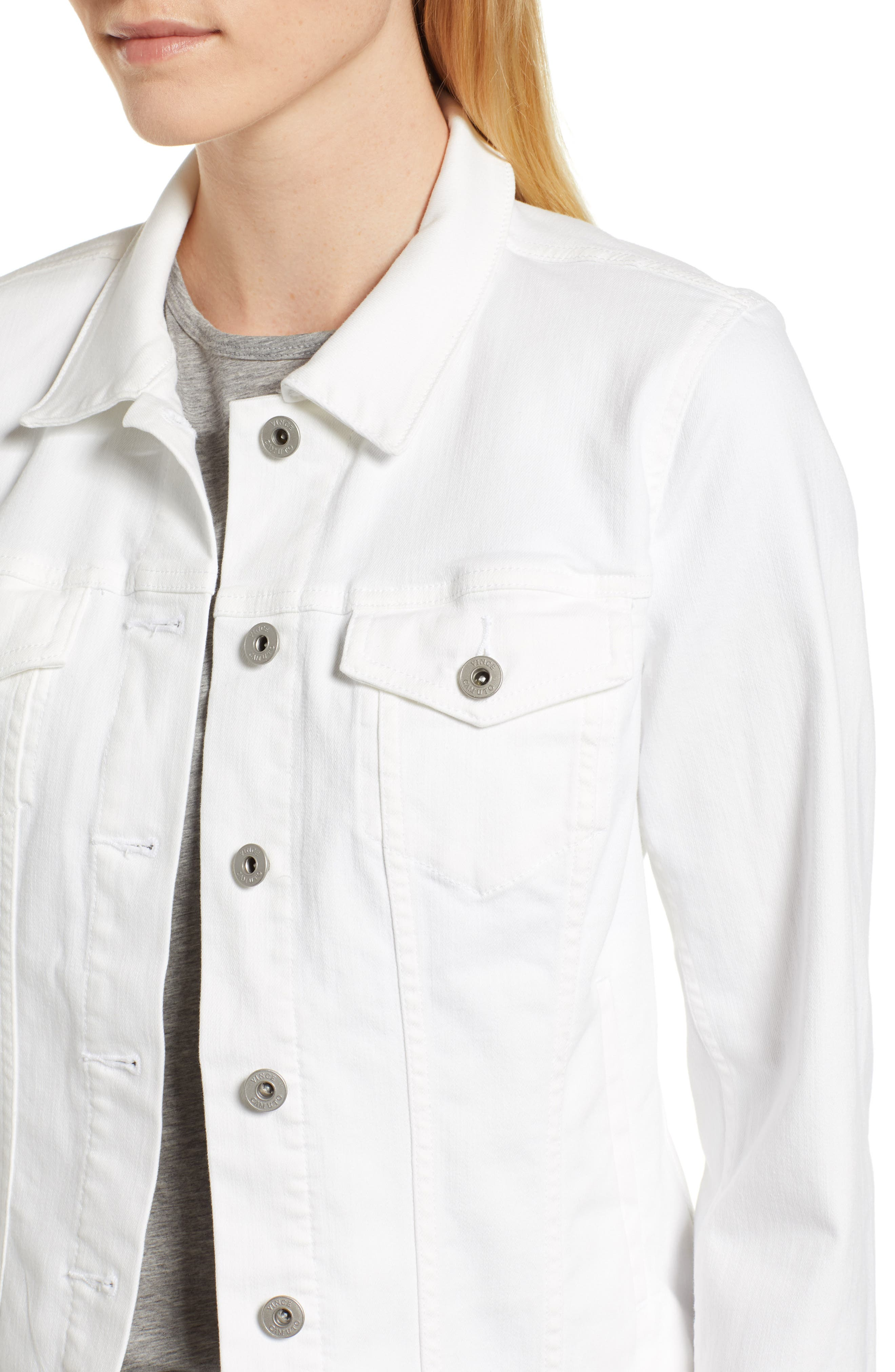 VINCE CAMUTO, Two by Vince Camuto Denim Jacket, Alternate thumbnail 5, color, ULTRA WHITE