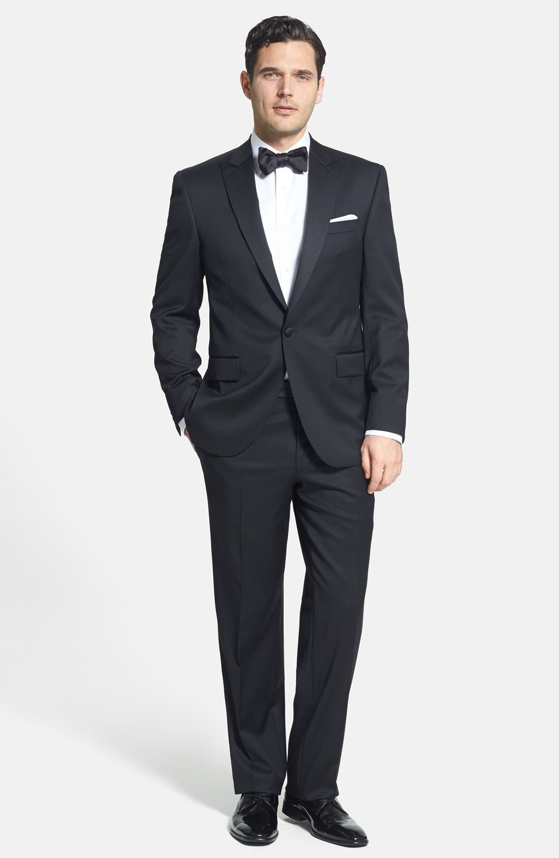 DAVID DONAHUE, Trim Fit Twill French Cuff Tuxedo Shirt, Alternate thumbnail 8, color, SOLID WHITE