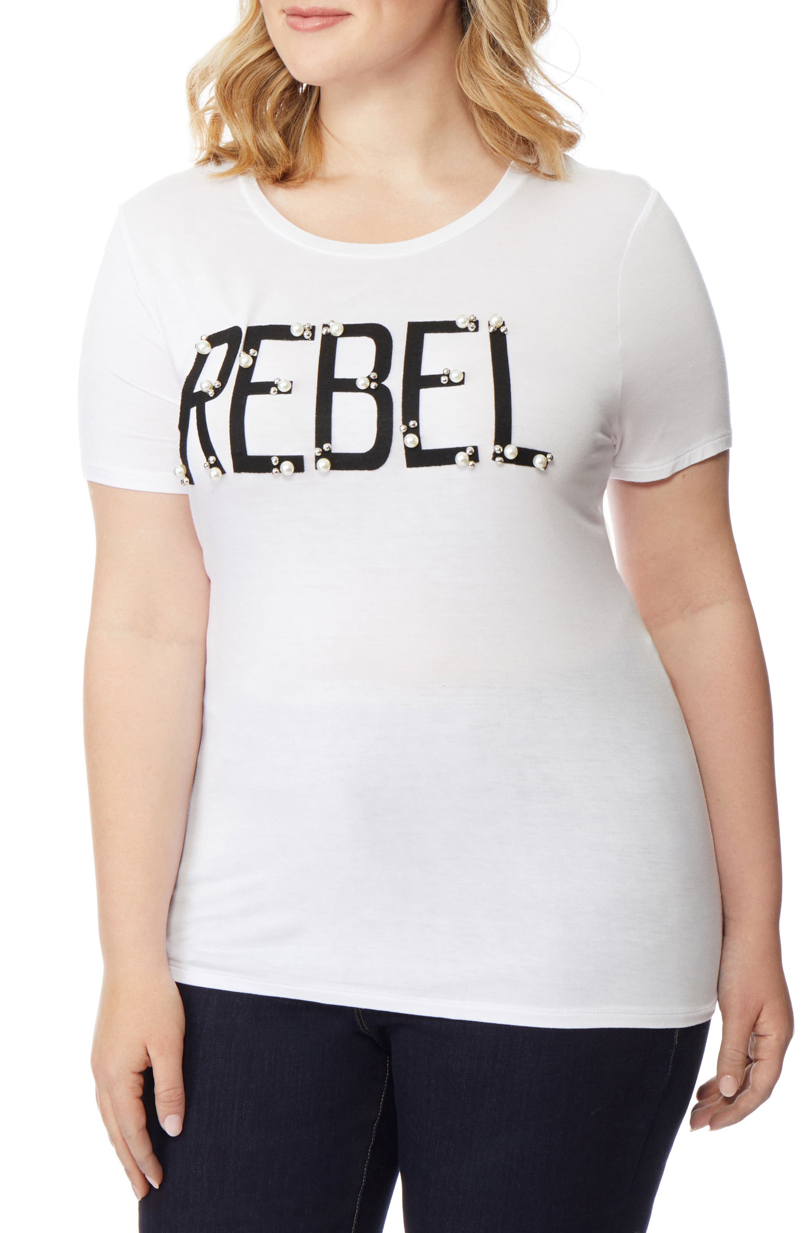 REBEL WILSON X ANGELS, Rebel Embellished Graphic Tee, Alternate thumbnail 3, color, 107