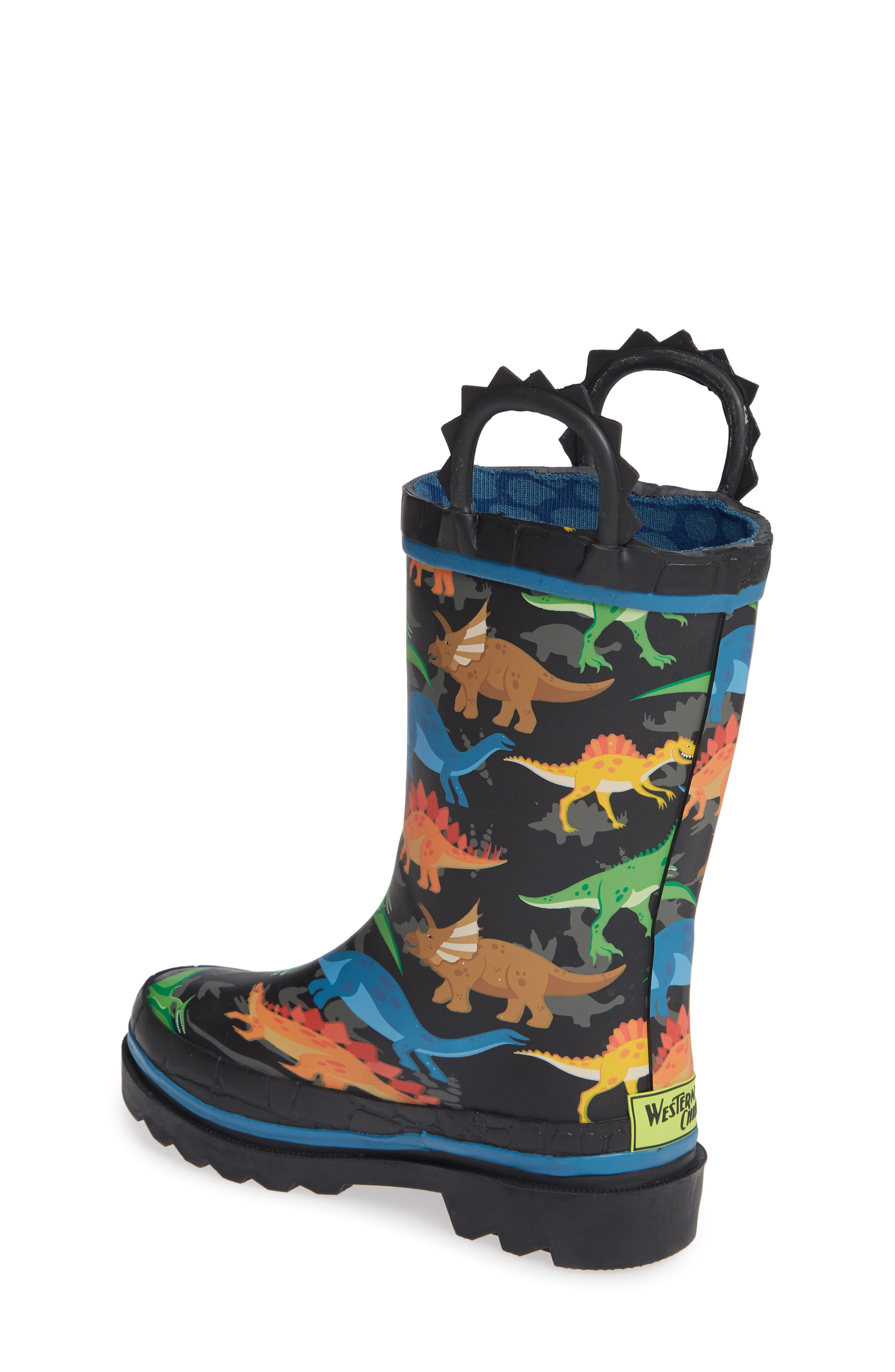 WESTERN CHIEF, Dino World Waterproof Rain Boots, Alternate thumbnail 2, color, BLACK