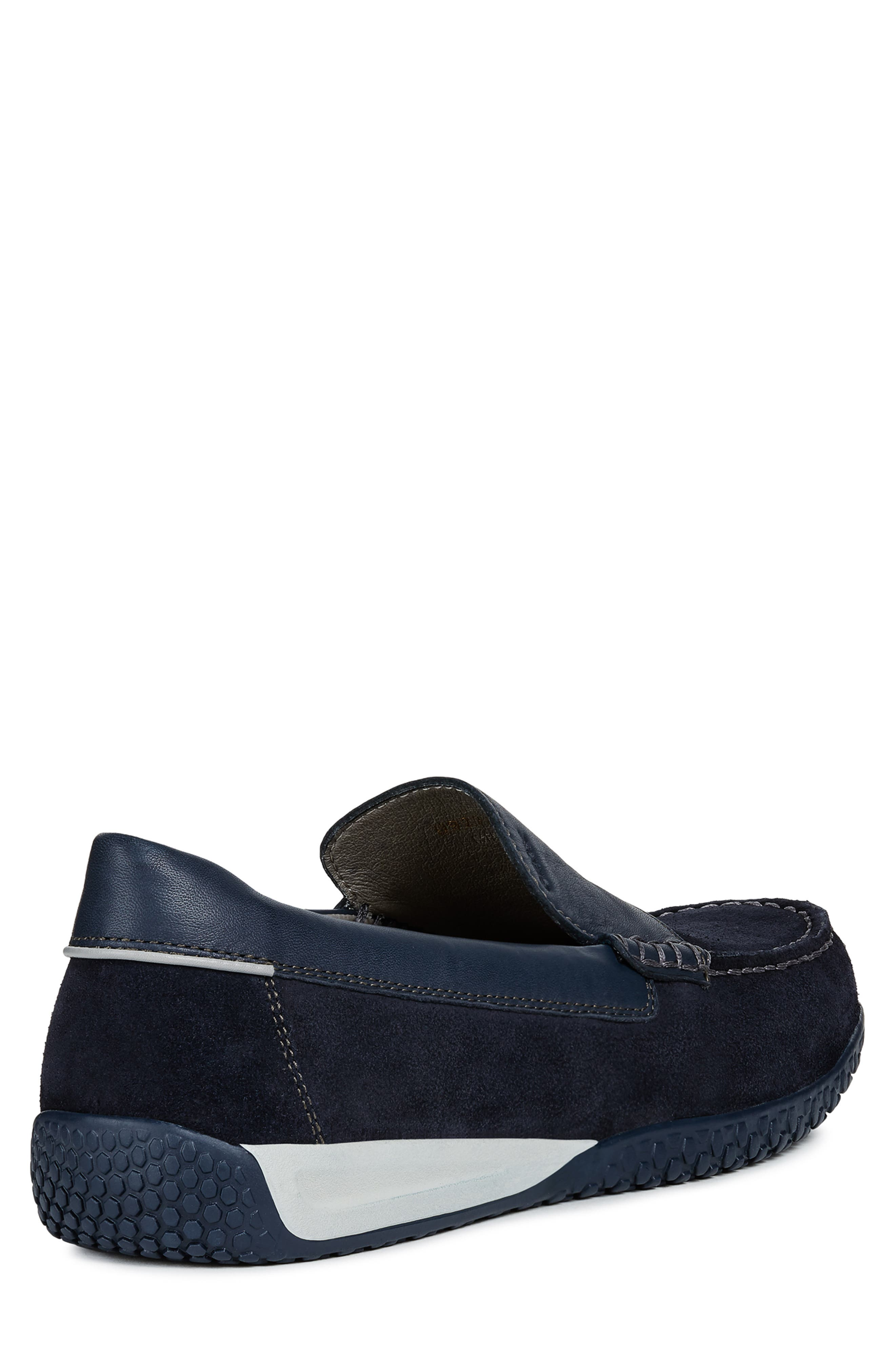 GEOX, Delrick 2 Slip-On, Alternate thumbnail 6, color, NAVY SUEDE/ LEATHER