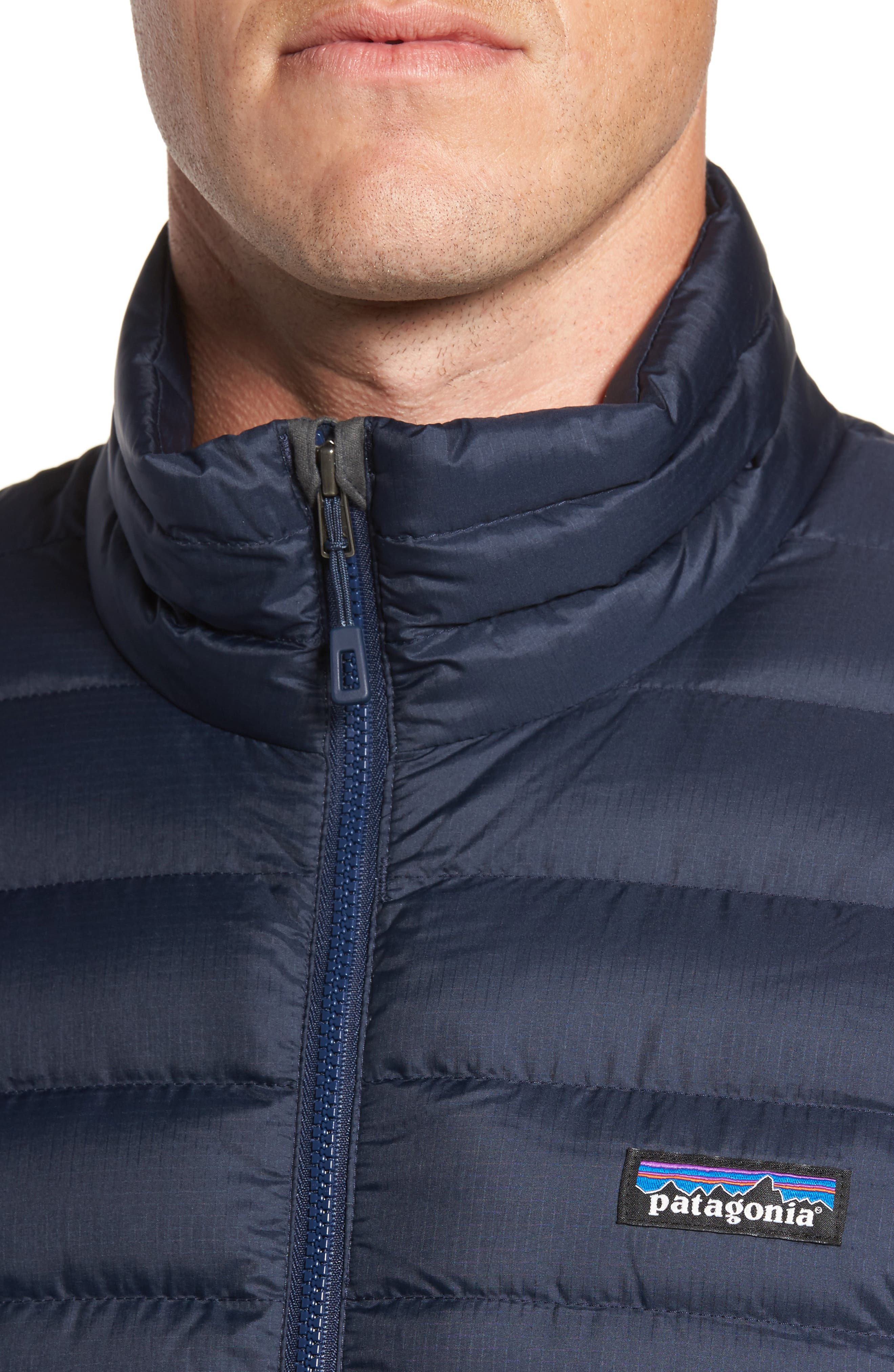 PATAGONIA, Water Repellent Down Jacket, Alternate thumbnail 5, color, NAVY BLUE W/ NAVY BLUE