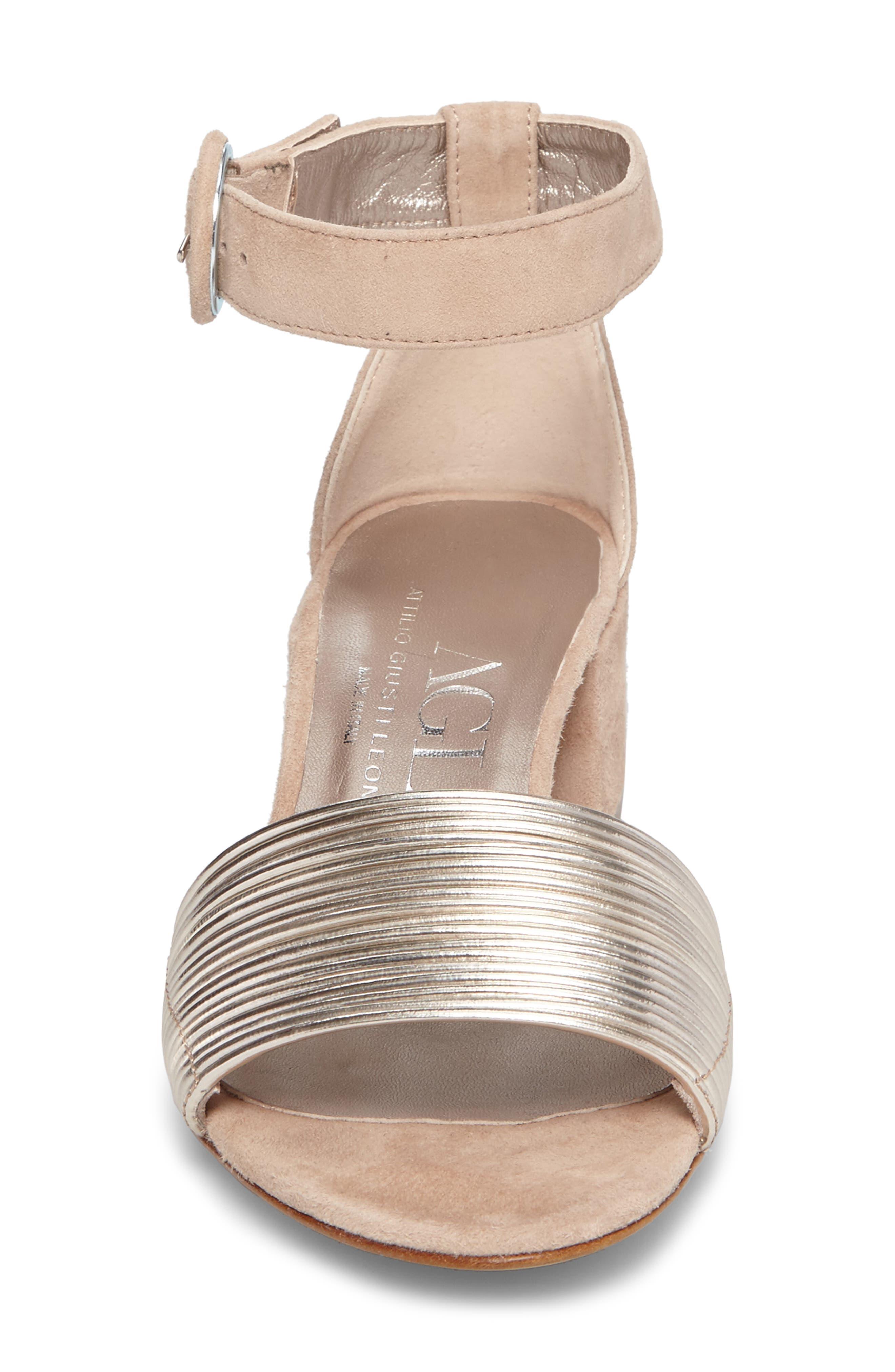 AGL, Ankle Strap Sandal, Alternate thumbnail 4, color, PLATINUM SUEDE