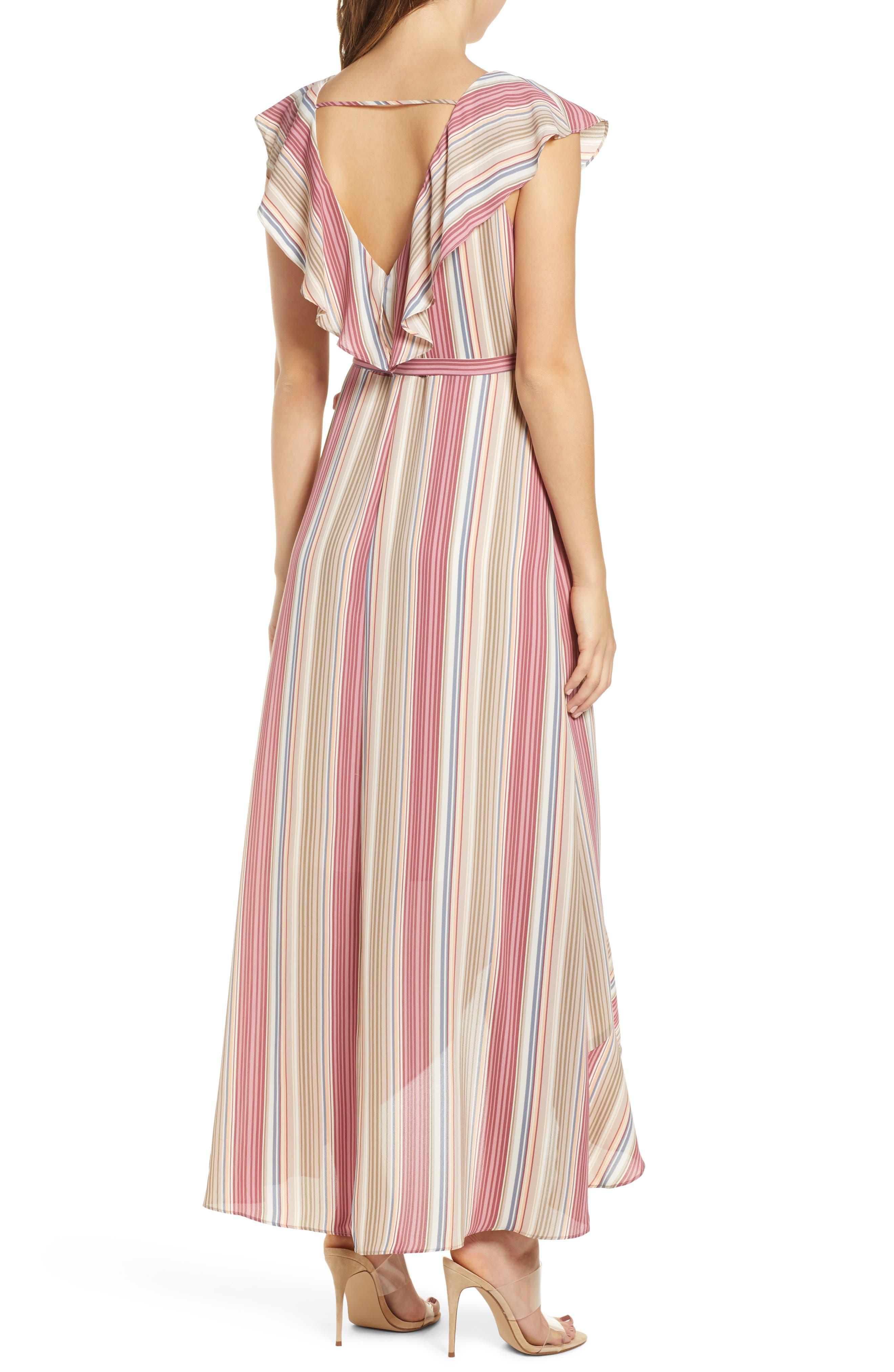 LEITH, Ruffle Wrap Maxi Dress, Alternate thumbnail 2, color, PINK CANYON TONAL STRIPE