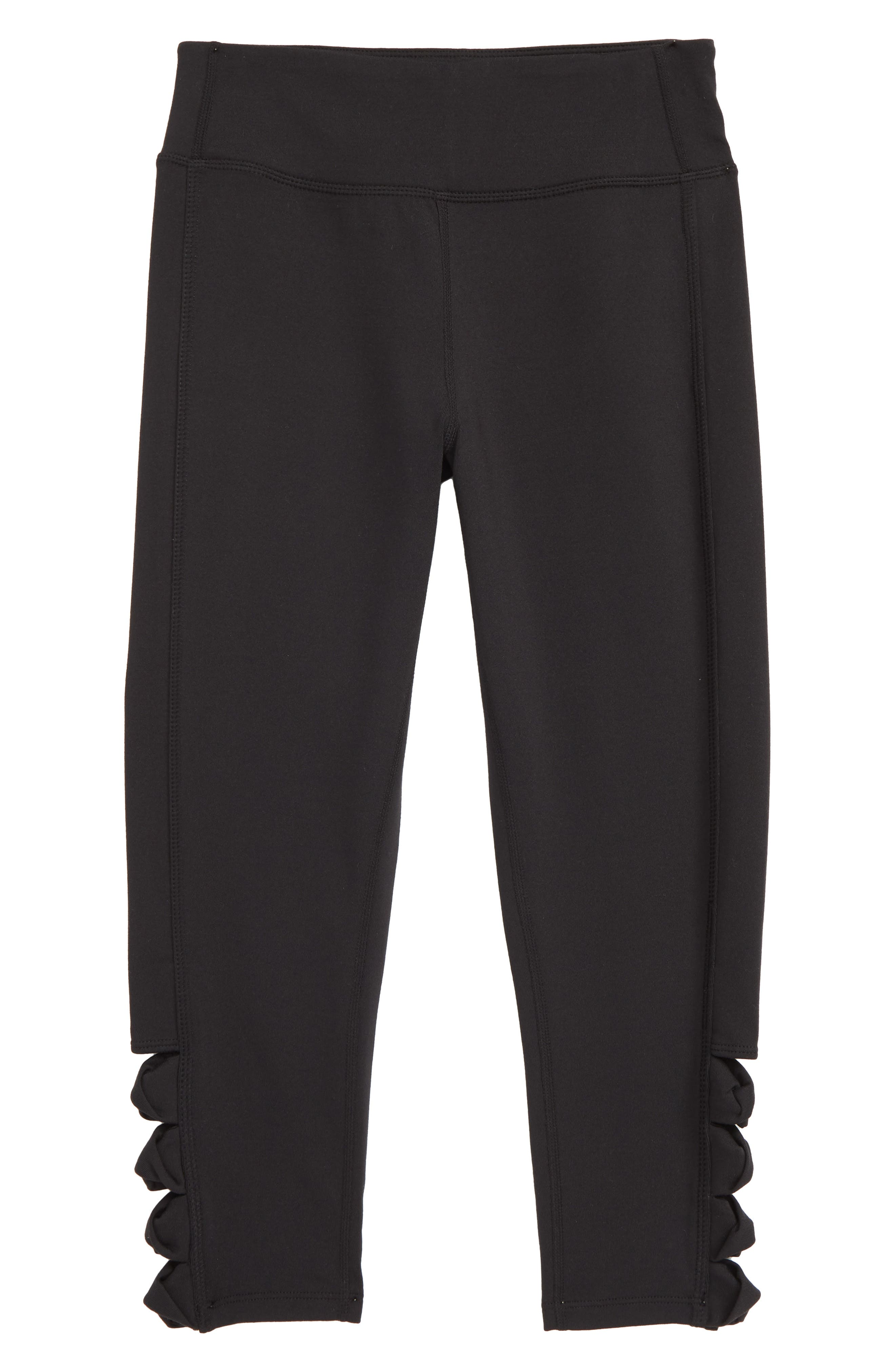 ZELLA GIRL Side Twist Crop Leggings, Main, color, BLACK
