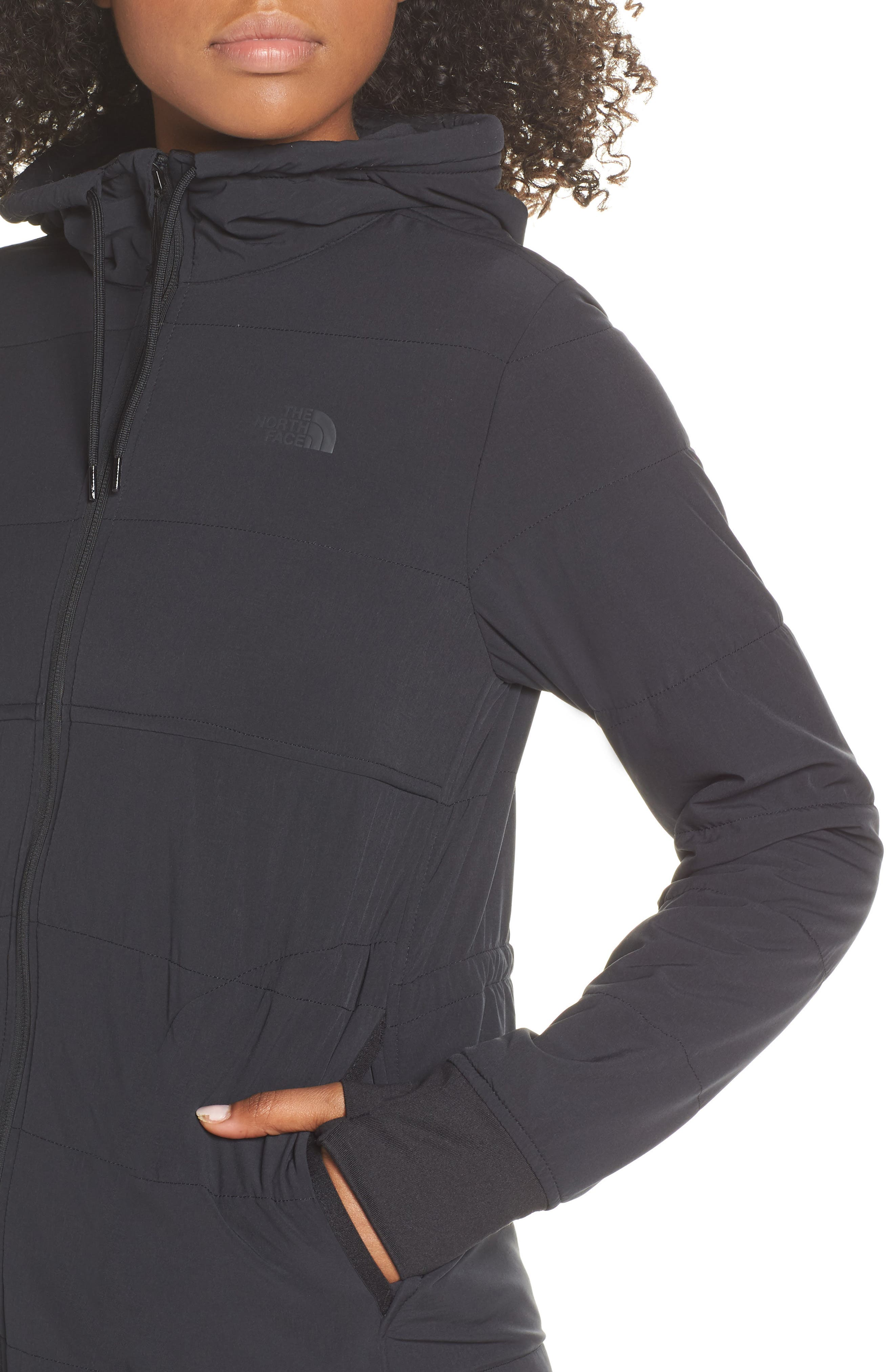 THE NORTH FACE, Mountain Insulated Zip Hooded Jacket, Alternate thumbnail 5, color, TNF BLACK