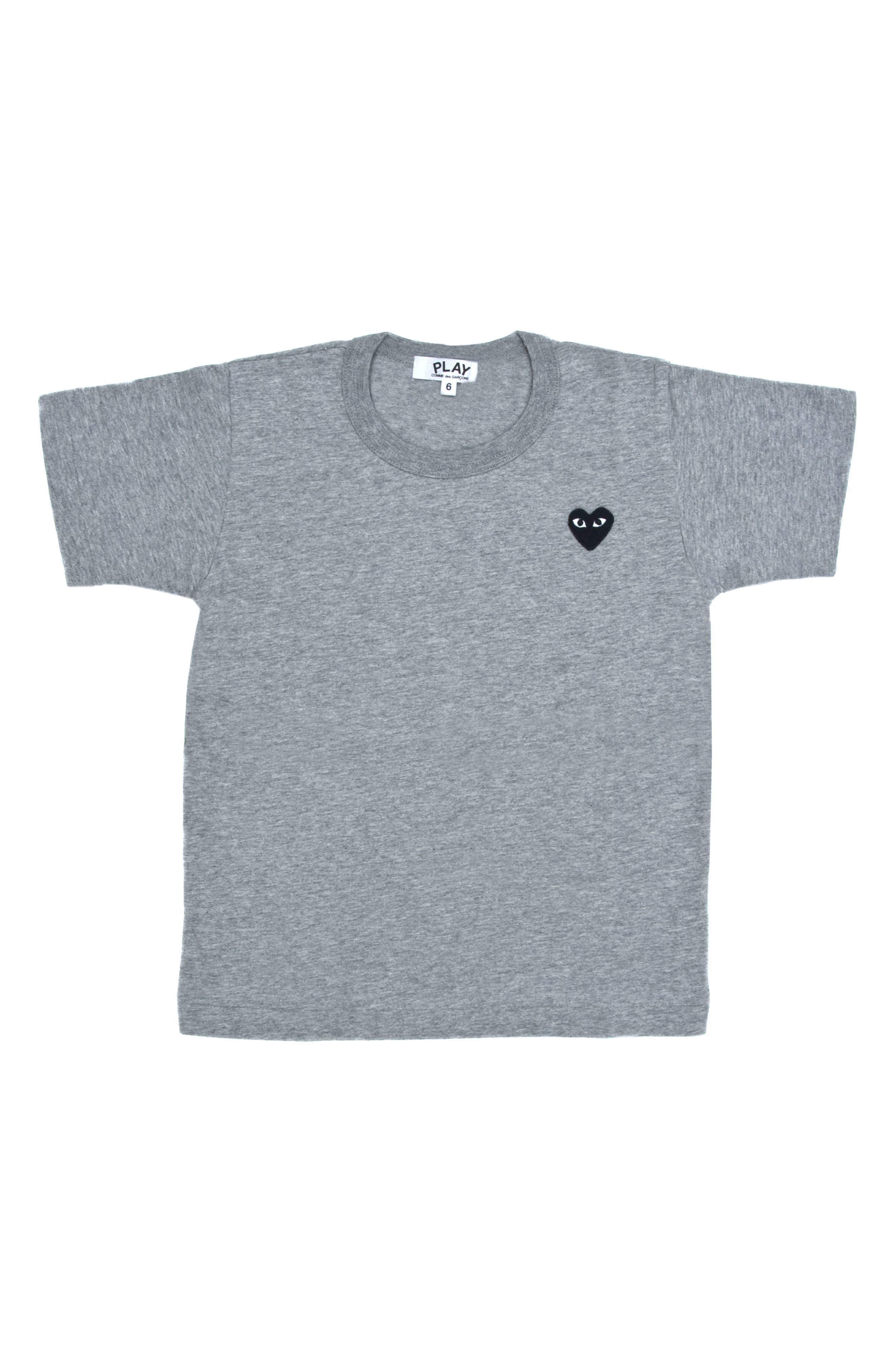 COMME DES GARÇONS PLAY, Little Black Heart T-Shirt, Main thumbnail 1, color, GREY