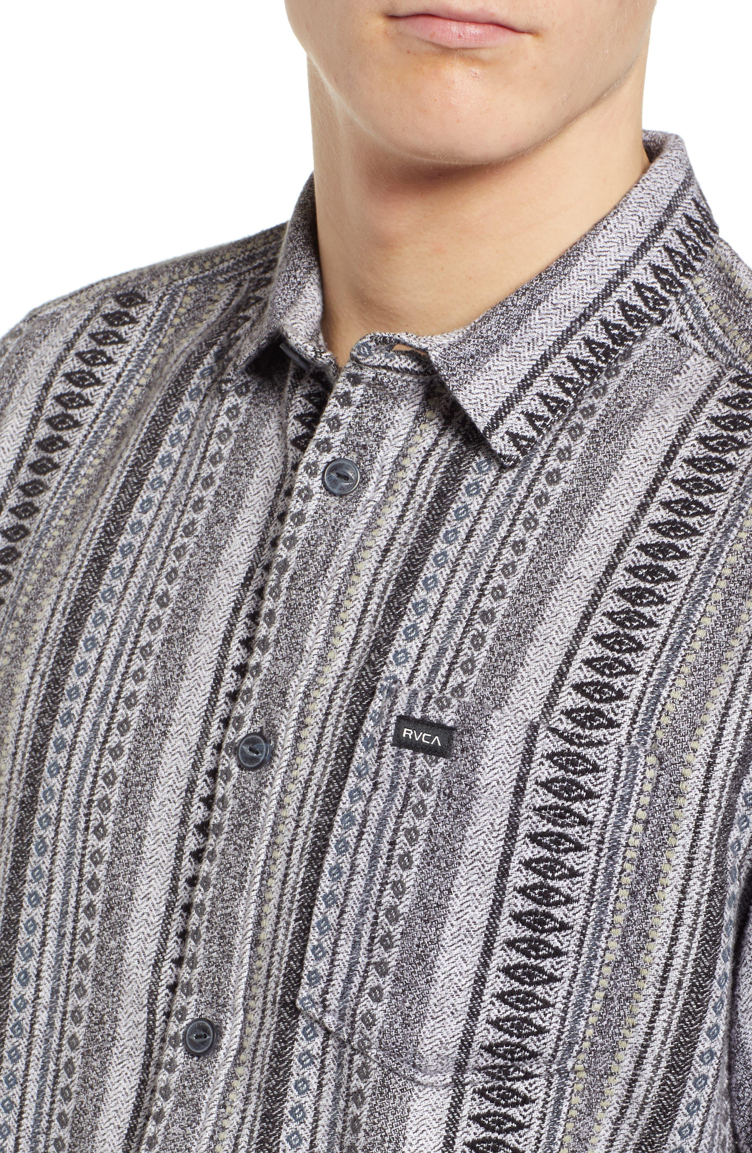 RVCA, Small Victory Woven Shirt, Alternate thumbnail 2, color, SMOKEY GREY HEATHER