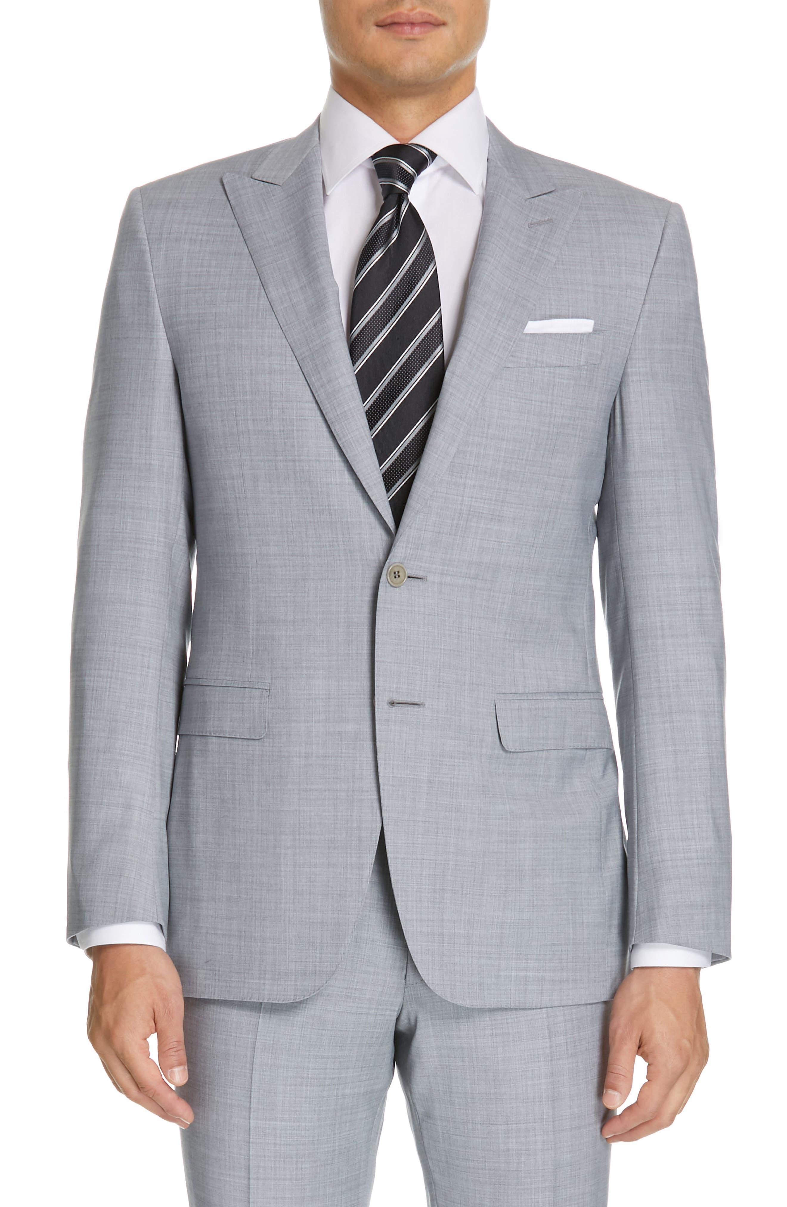 CANALI, Milano Classic Fit Solid Wool Suit, Alternate thumbnail 5, color, LIGHT GREY