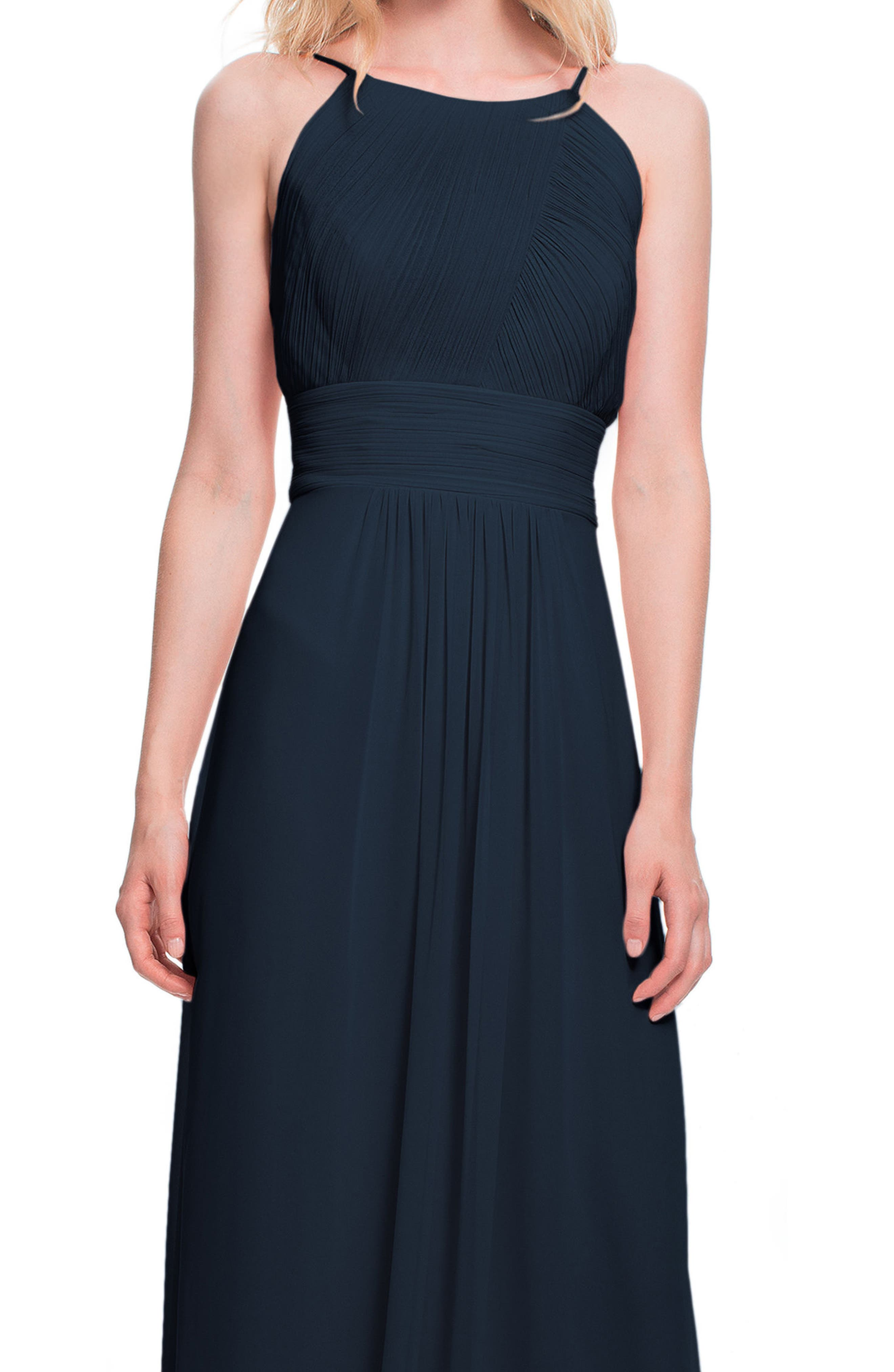#LEVKOFF, Low Back Pleated Chiffon Gown, Alternate thumbnail 3, color, NAVY