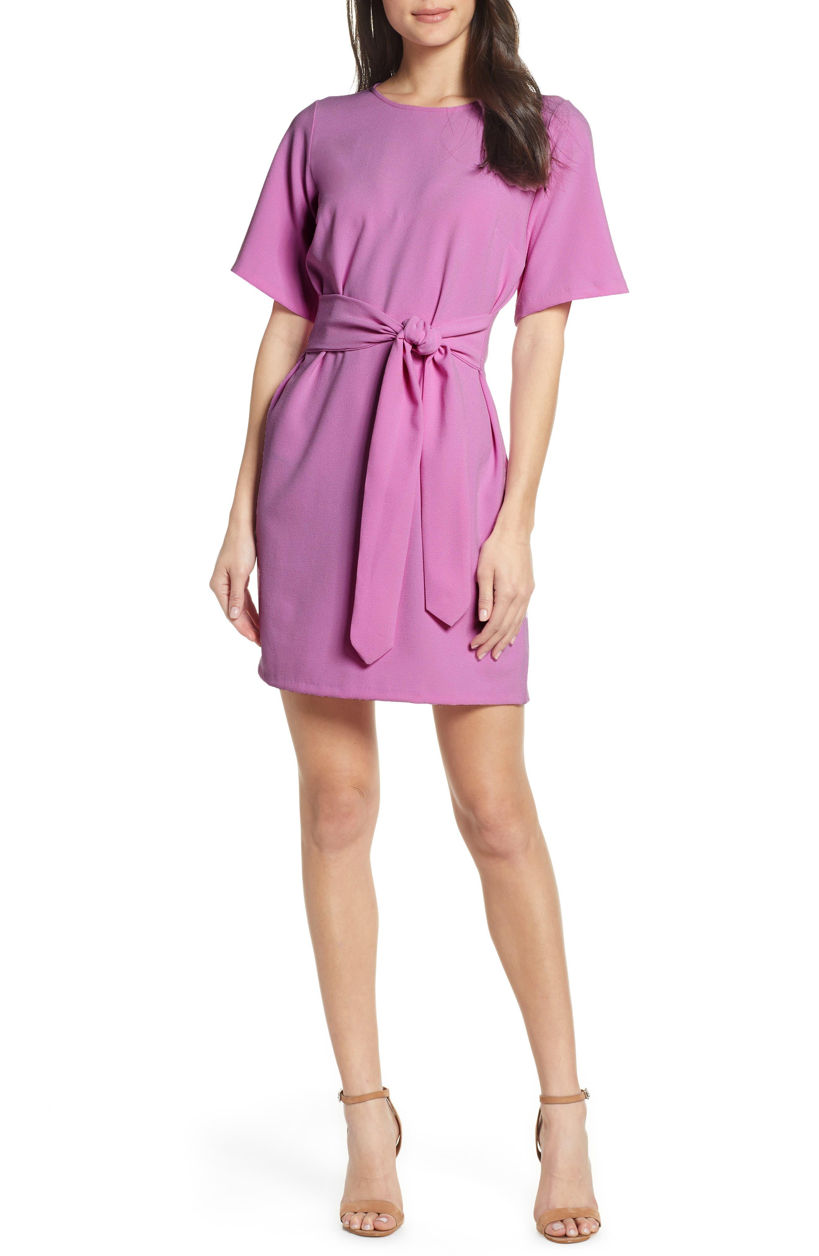 Chelsea28 Front Tie Shift Dress, Purple