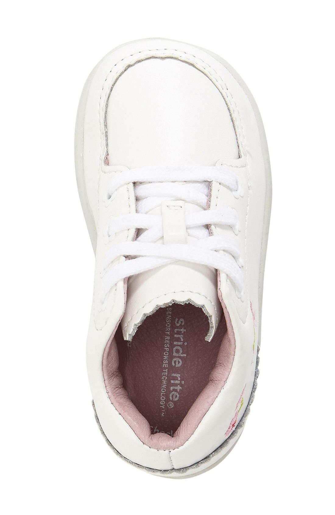 STRIDE RITE, 'Emilia' Leather Boot, Alternate thumbnail 3, color, WHITE