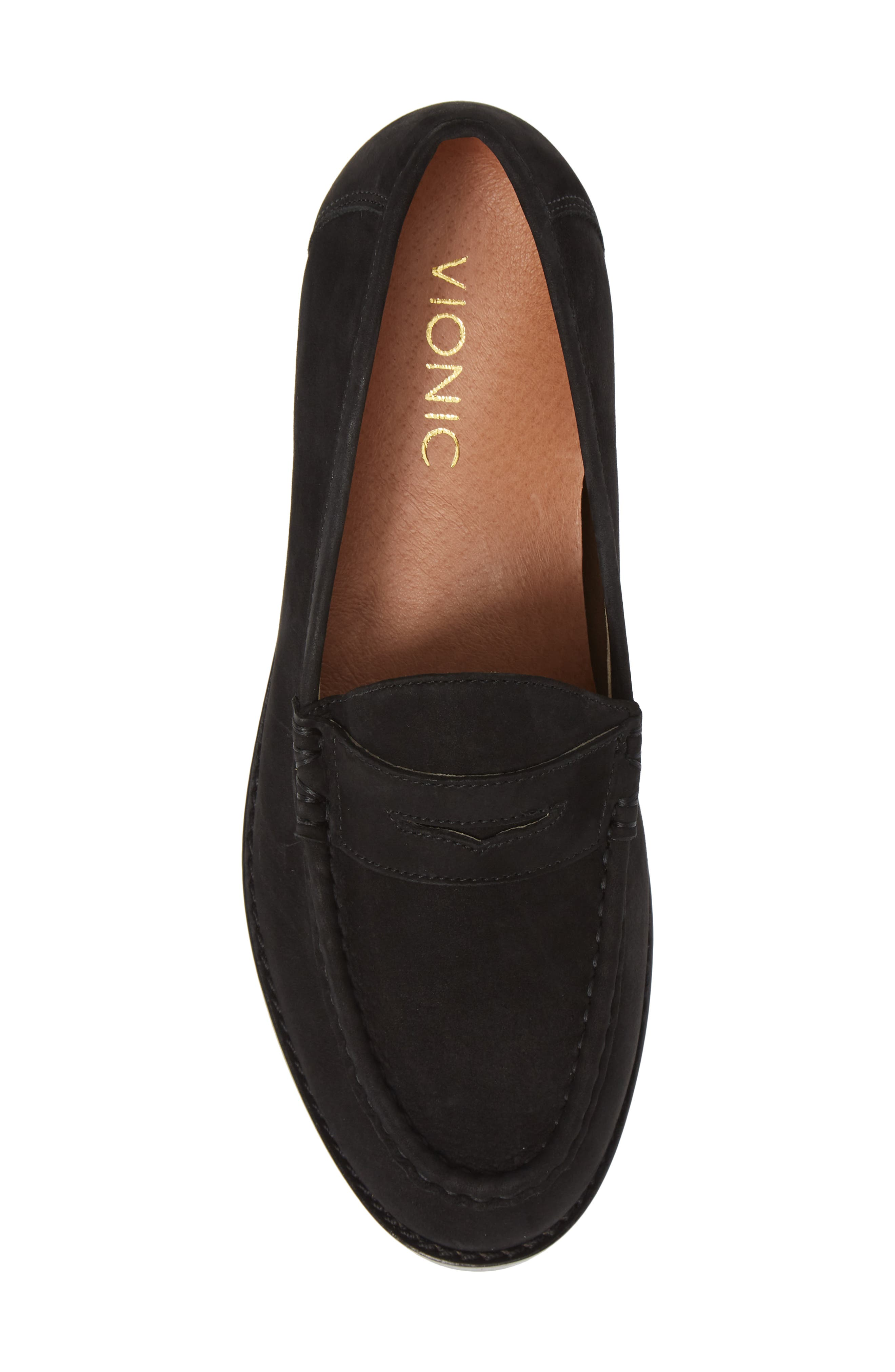 VIONIC, Waverly Loafer, Alternate thumbnail 5, color, BLACK LEATHER