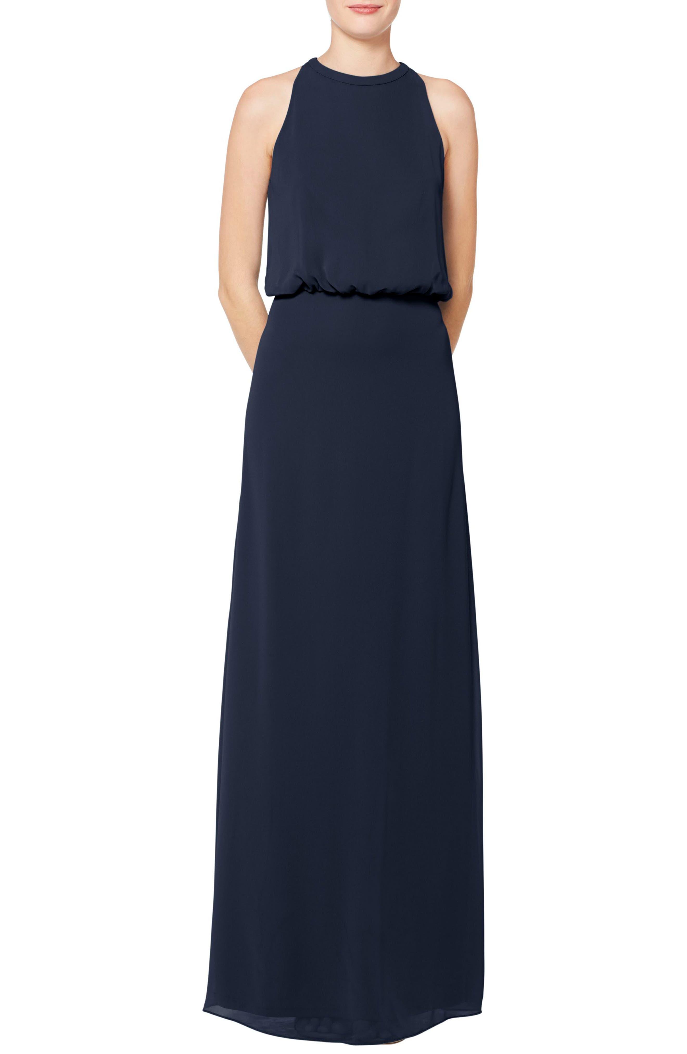 #LEVKOFF Halter Neck Blouson Bodice Chiffon Evening Dress, Main, color, NAVY