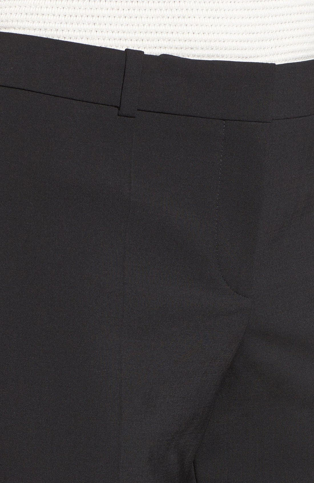 BOSS, Tulea3 Tropical Stretch Wool Trousers, Alternate thumbnail 6, color, BLACK